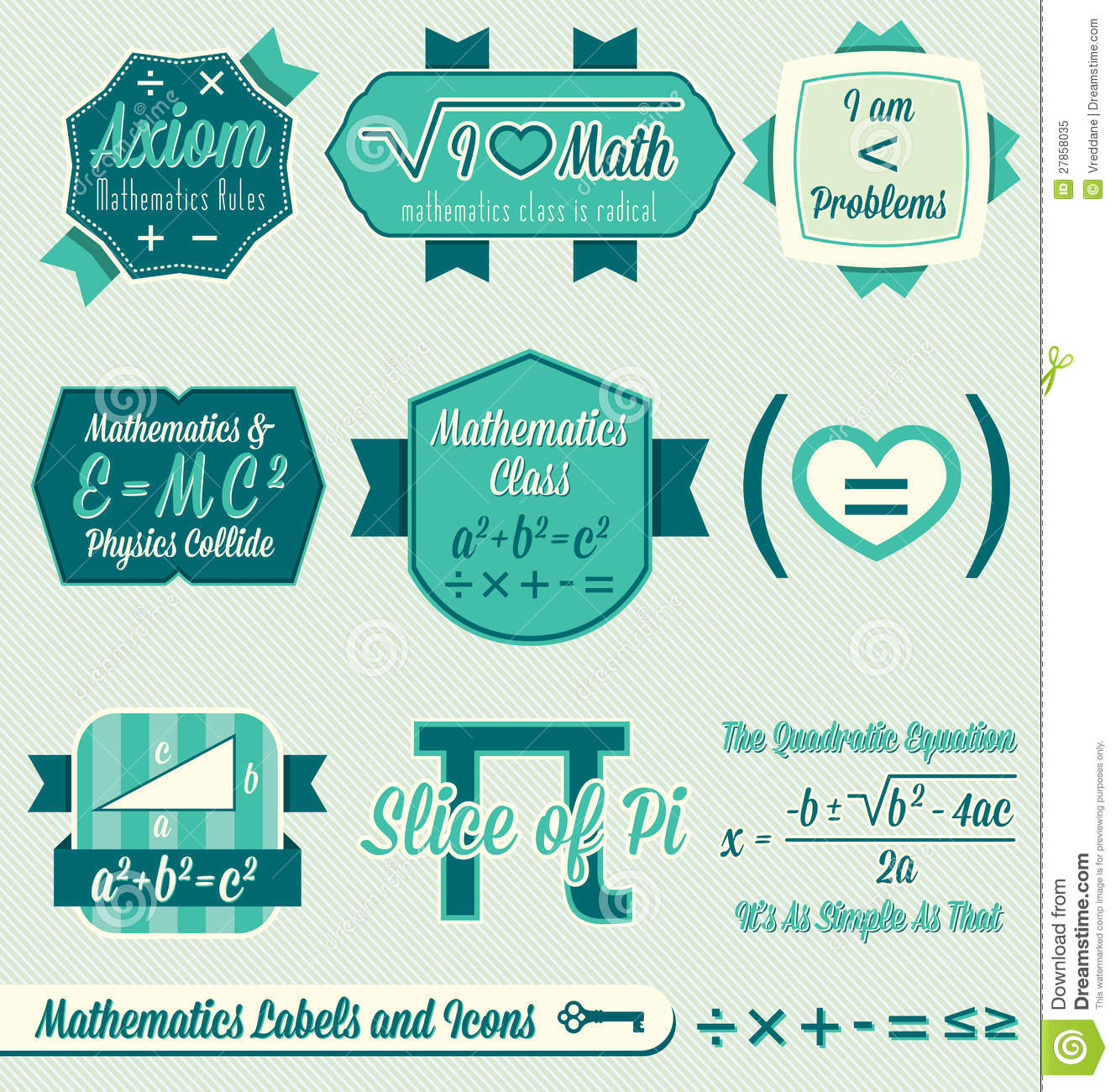 vector set vintage math labels and icons royalty free