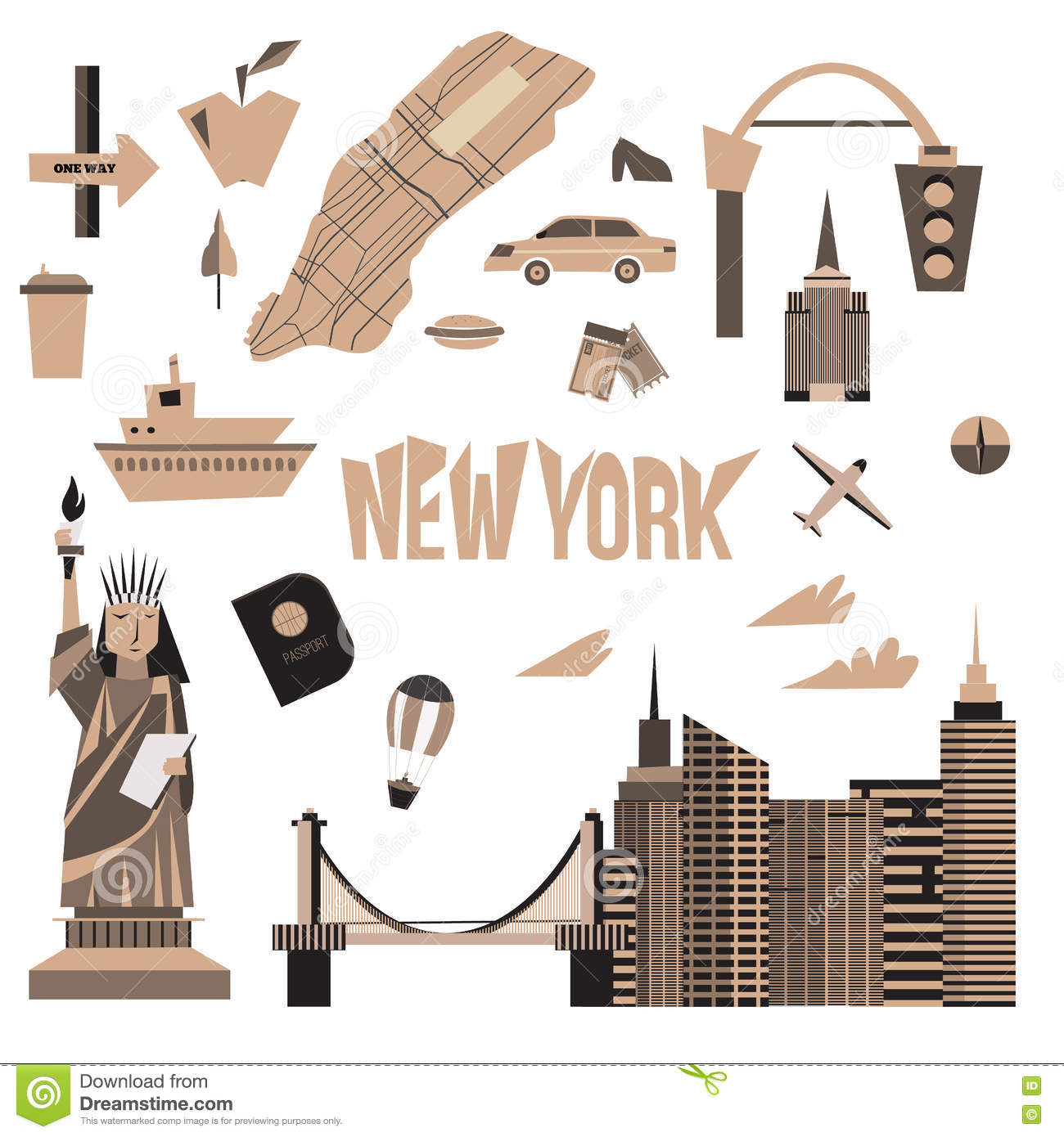 Cartoon Map Of New York City.Vector Set Of Vintage New York City Icons In Cartoon Style Statue