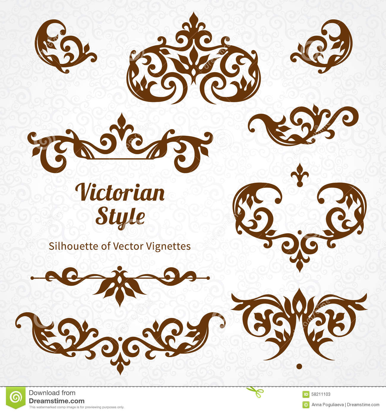 Vintage style ornaments - Vector Set Of Vintage Ornaments In Victorian Style Stock Vector