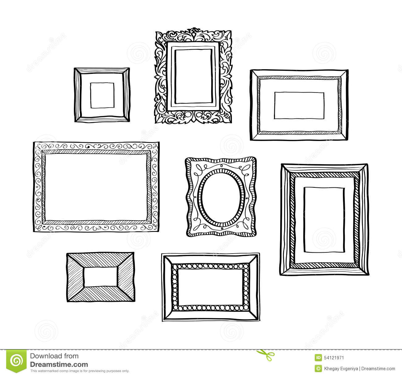 vector set of vintage photo frames hand drawn doodle style antique ornamental and cute photo. Black Bedroom Furniture Sets. Home Design Ideas