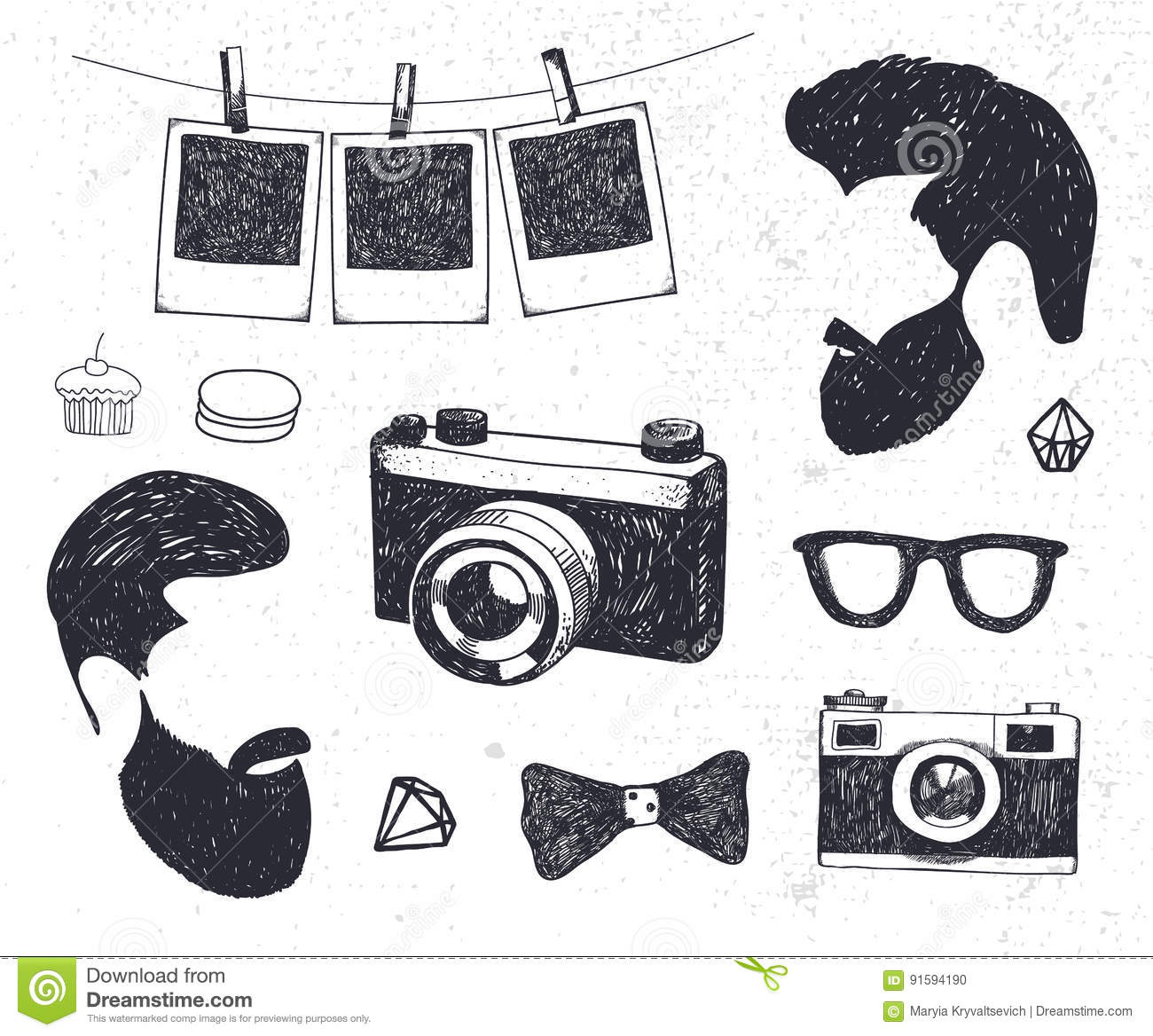 Vector Set Of Vintage Styled Design Hipster Stuff. Hand Drawn Doodle ...