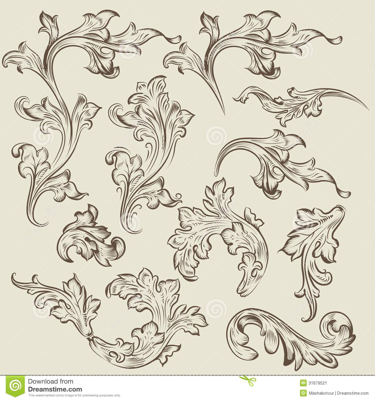 Vector Set Of Vintage Swirl Ornaments For Design Stock