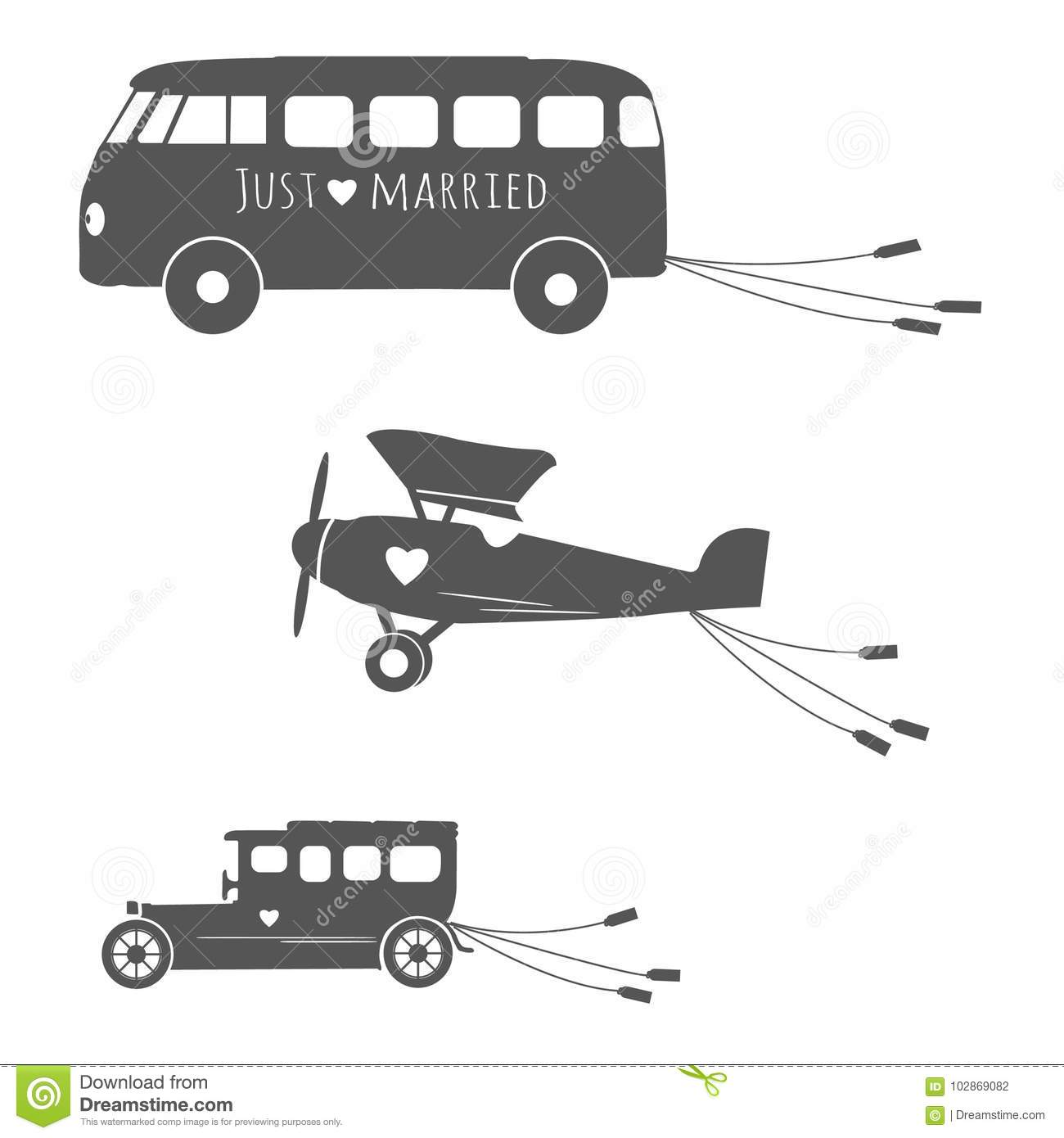 Vintage Wedding Transportation Set With Bus Car And Aircraft Stock