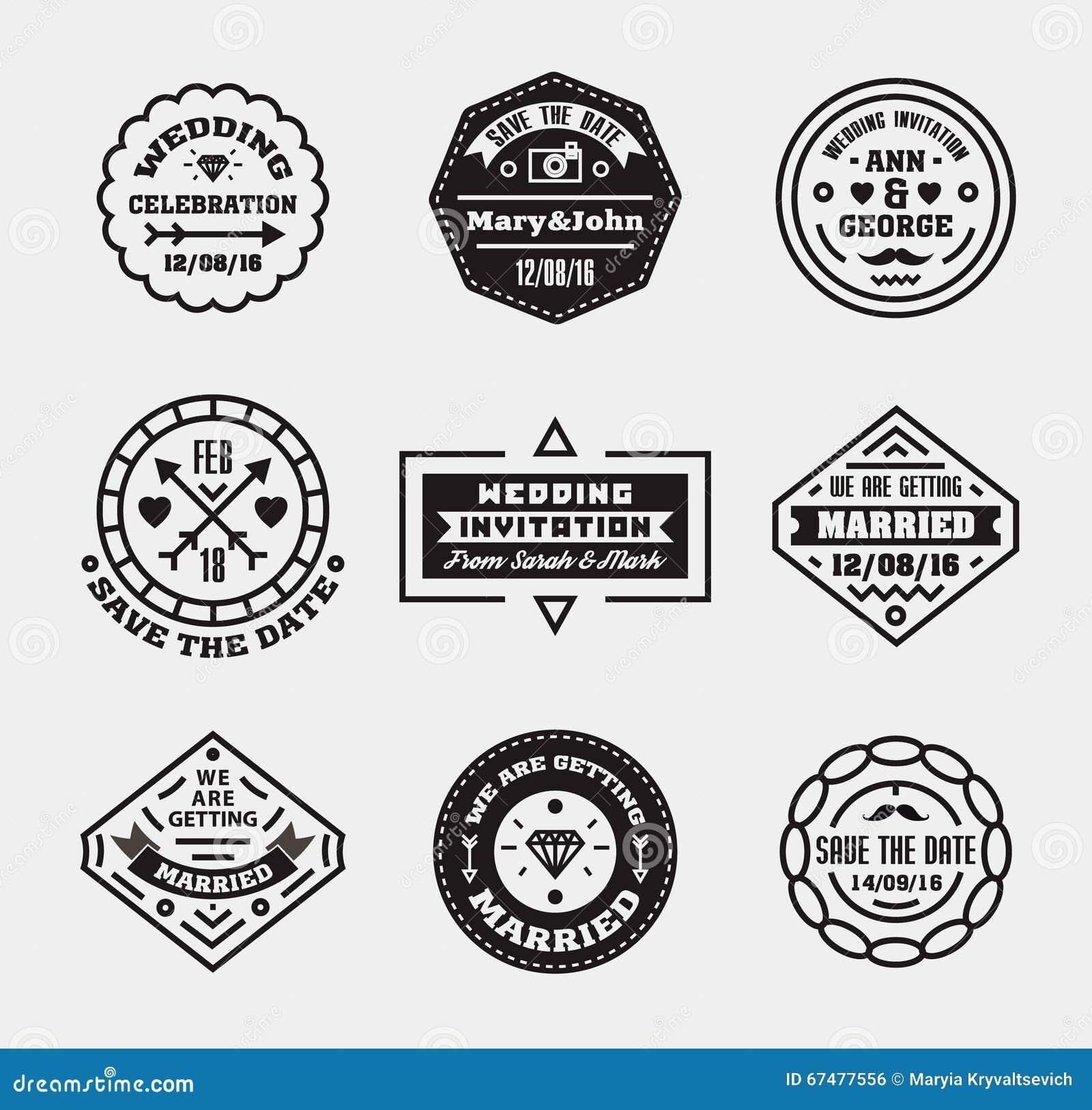 vector set of vintage wedding badges sings logos stock