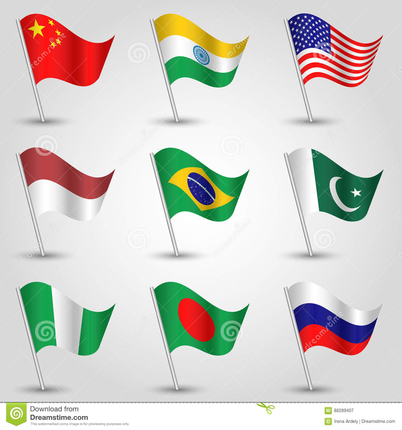 vector set waving flags of states with biggest population on silver