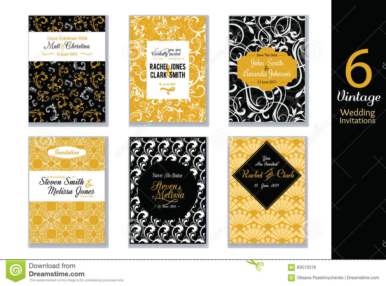 Vector Set Of Wedding Invitations Cards With Black White And Gold