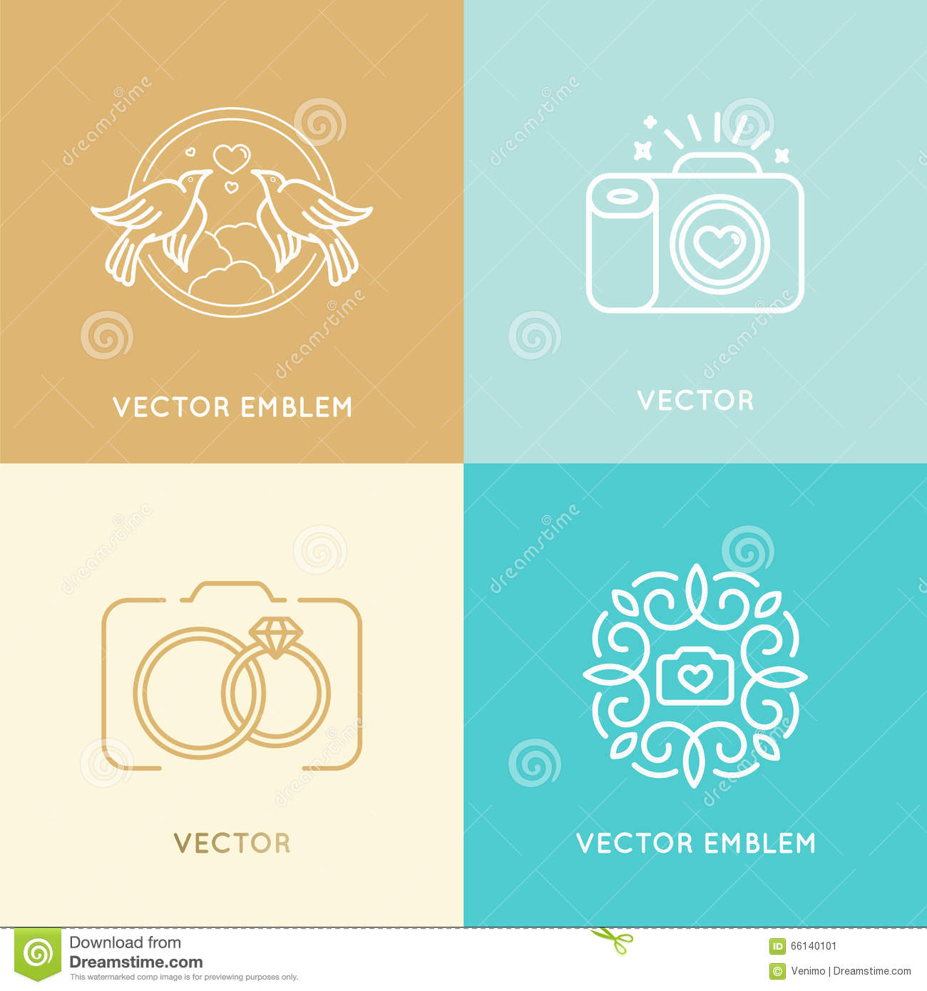 Wedding Photography Studio Logo: Vector Set Of Wedding Photography Logo Design Templates