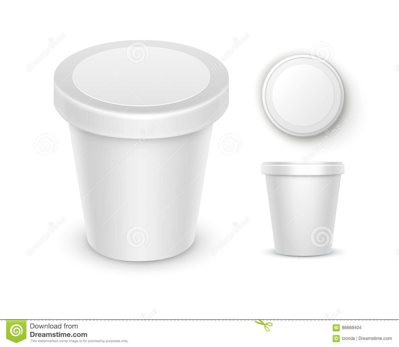 vector set of white blank food plastic tub bucket container for