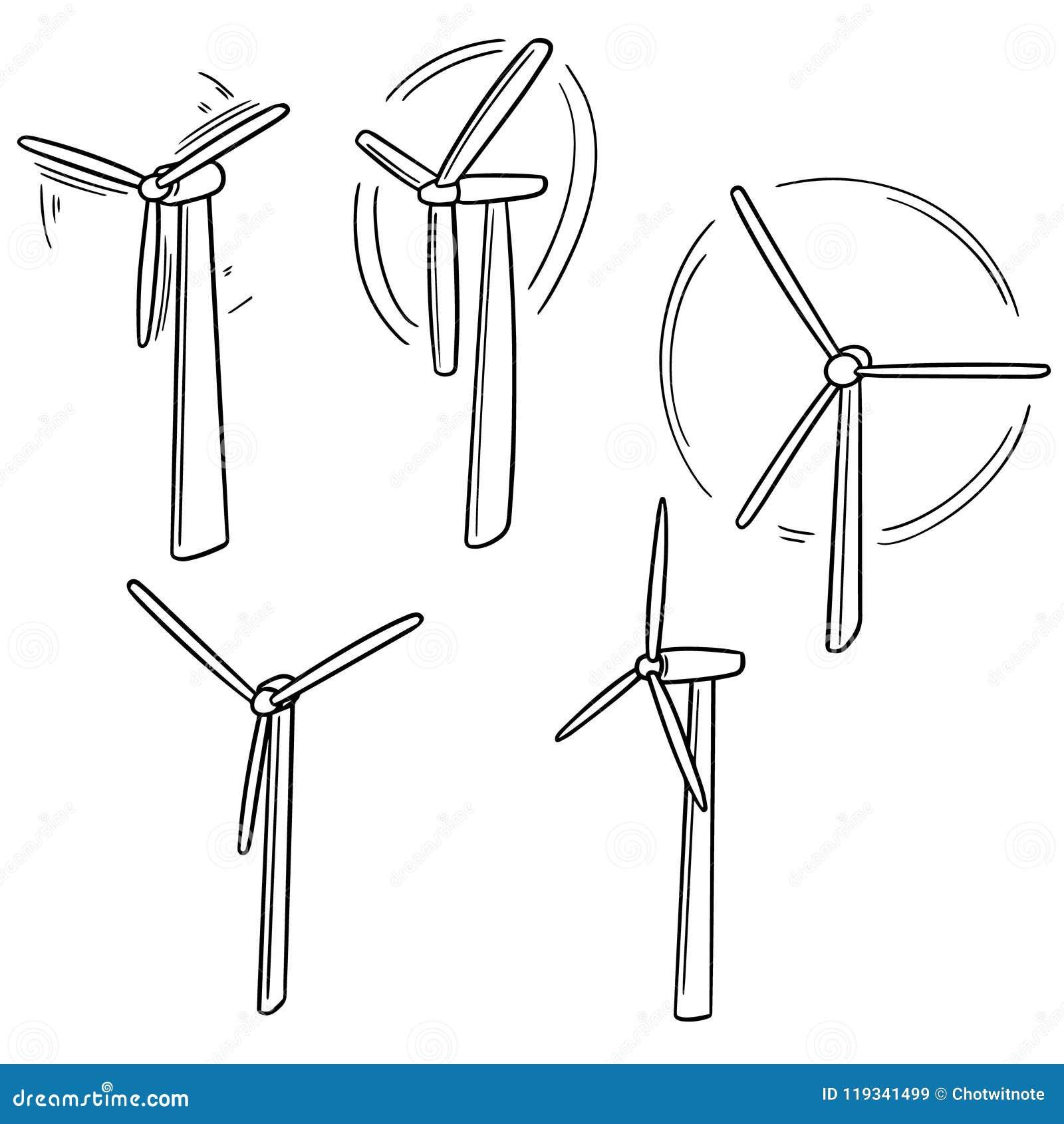vector set of wind turbine stock vector  illustration of ecology