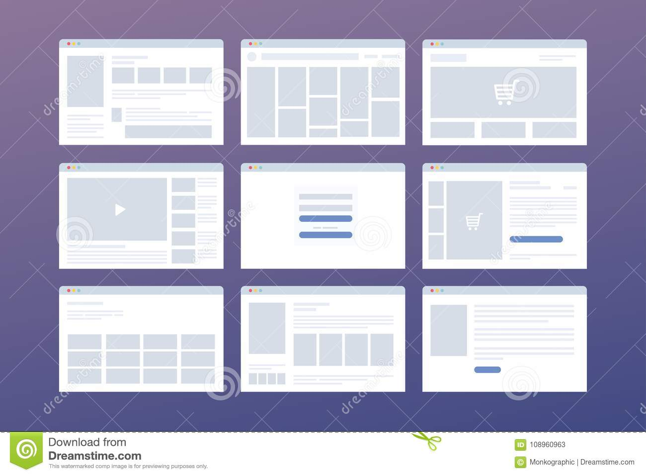 vector set of windows with website page template concept of social