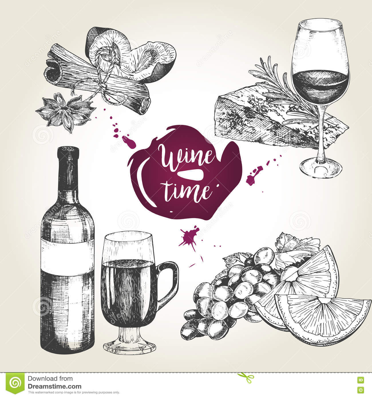 vector set wine appetizers bottle glass cheese rosemary orange grape cinnamon sticks anise plum vintage engraved style use 77971654 Scooter Coffee Cartoon Italian Culture Symbols Pisa Tower Retro Scooter Red Wine Coffee Pizza Pasta