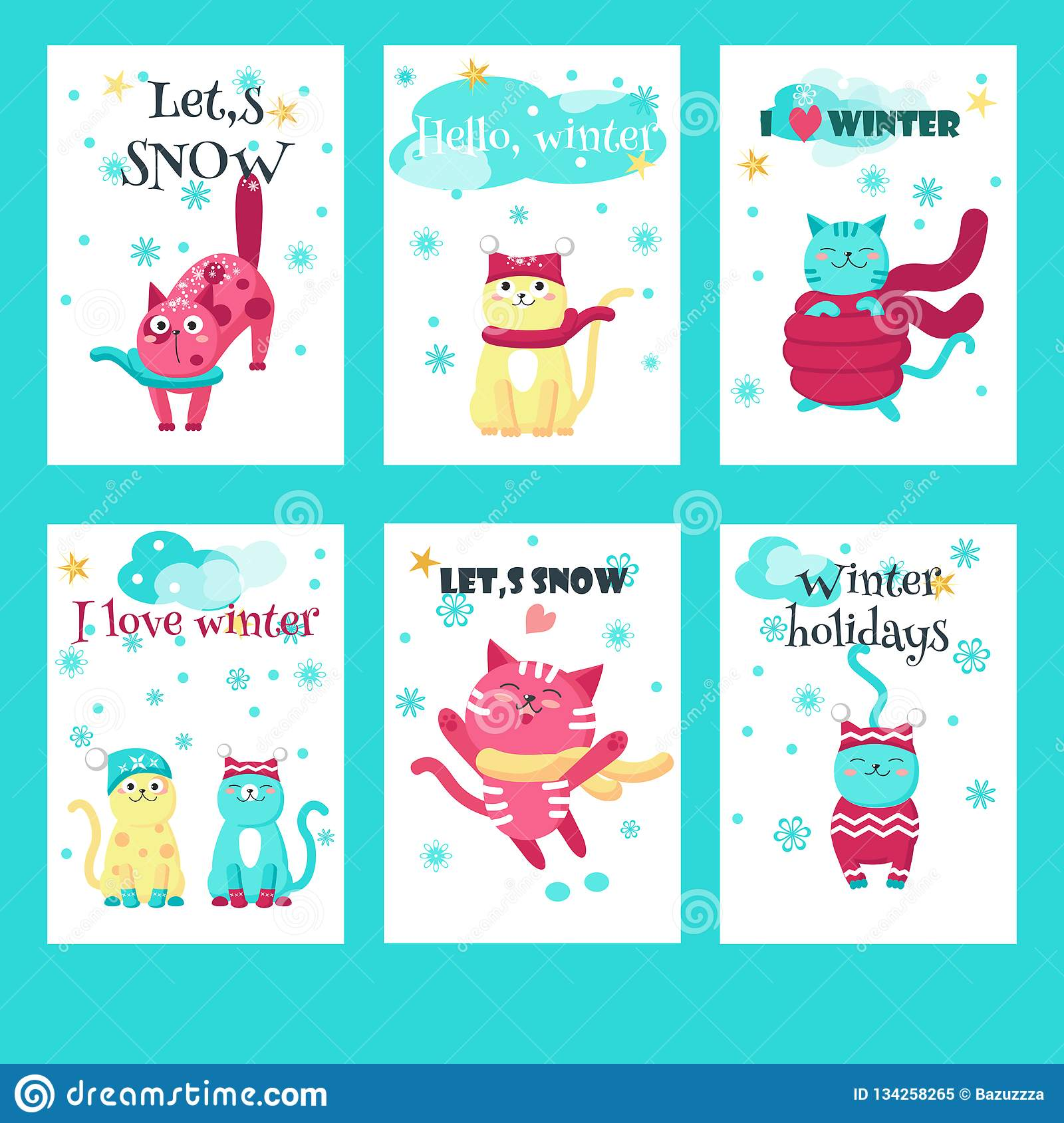 b7173b7d069a28 Vector set of winter cards with cute cats and inspirational quotations.  Happy kittens in warm knitted hats