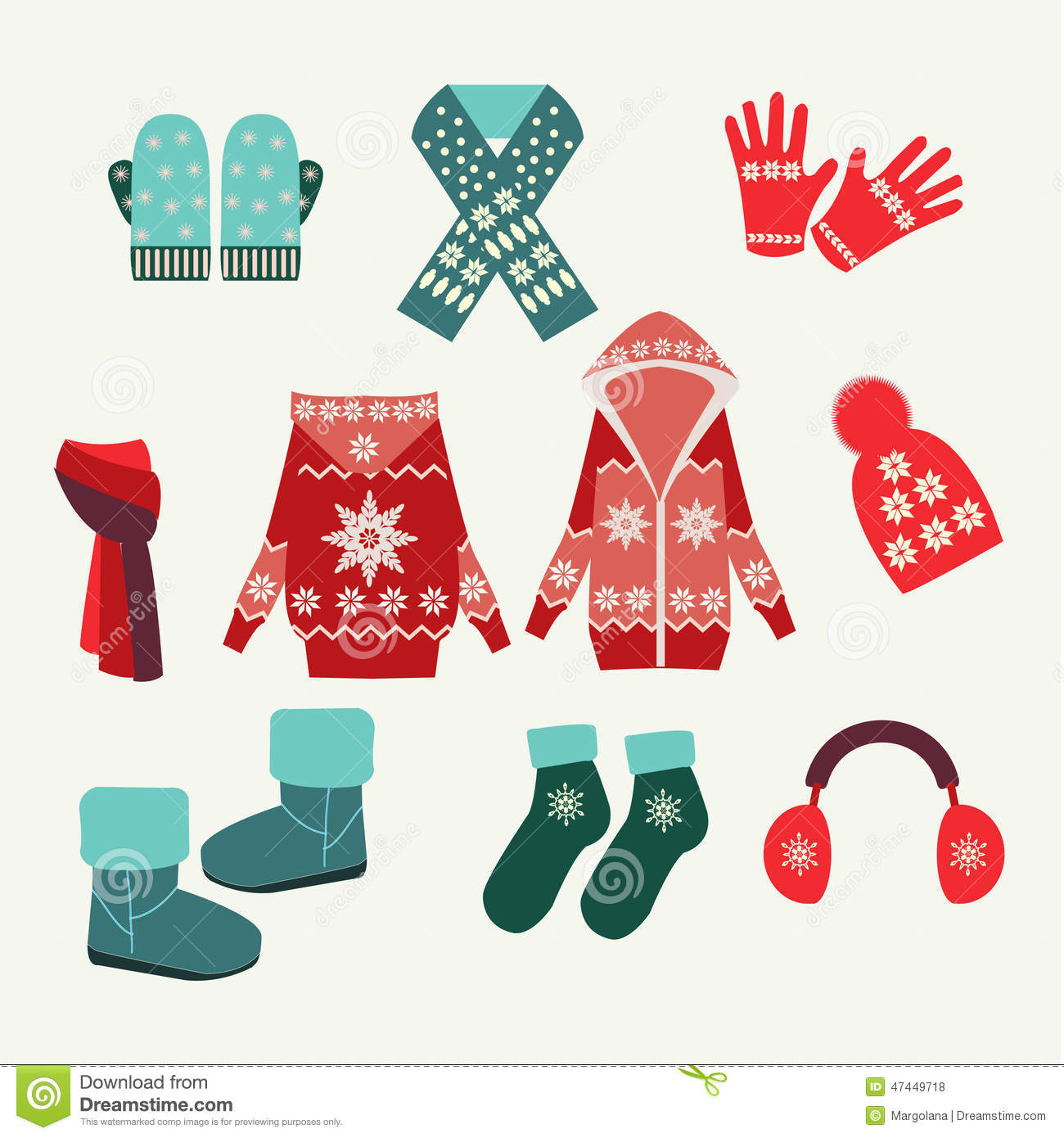Vector Set Of Winter Clothing Illustration Stock Vector Image 47449718