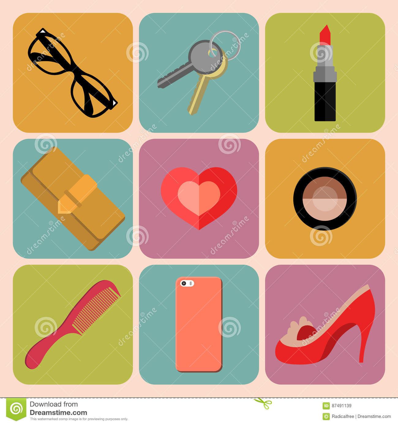 Vector Female Accessories Set 6 Vector Illustration ...