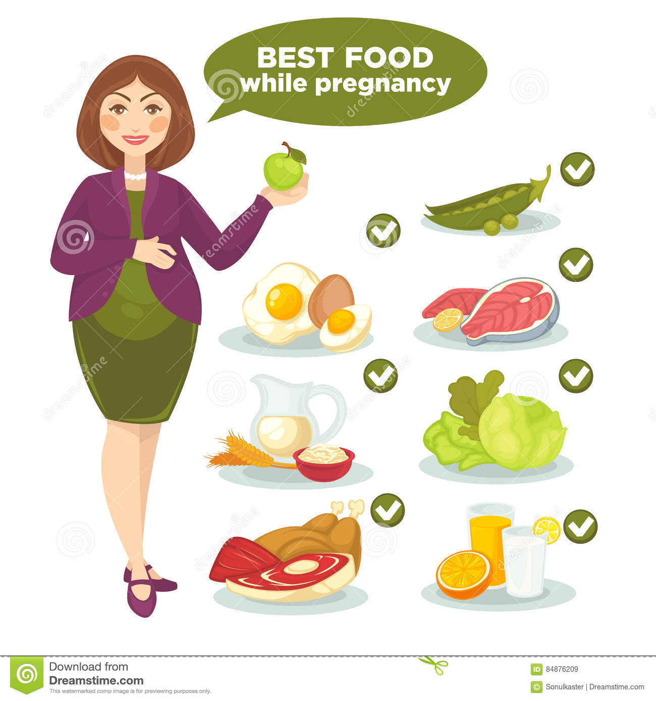 Vector Set With Woman And Health Food For Pregnant  Stock