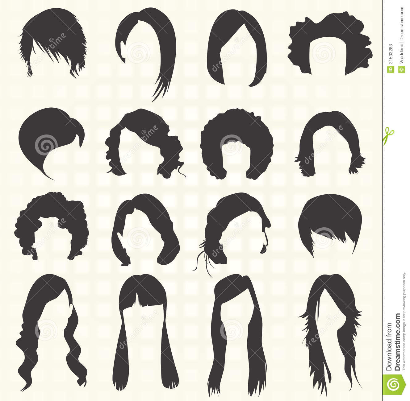 vector set: women hairstyle silhouettes stock photos - image: 31533283