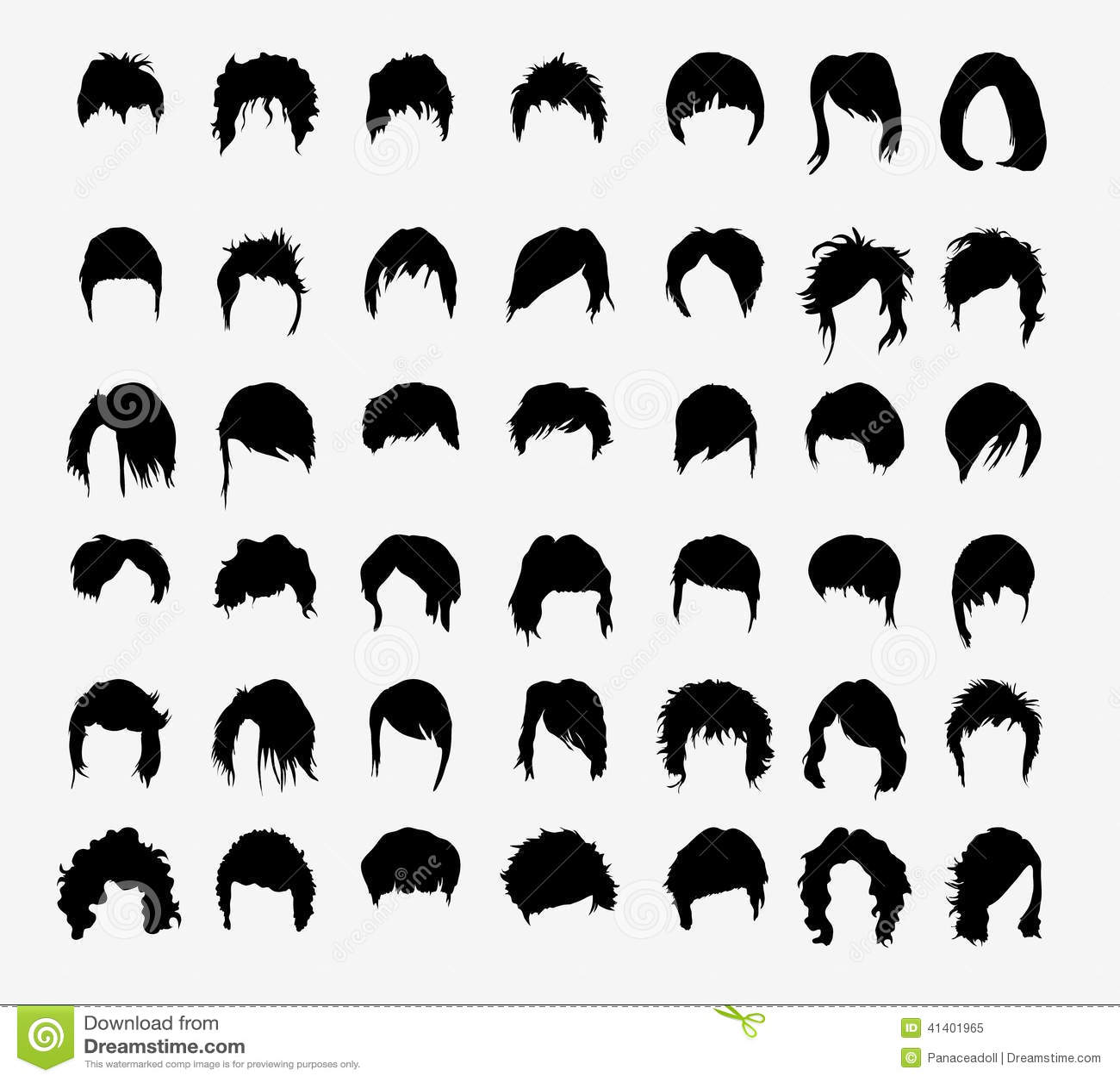 Vector Set Of Women S Hairstyles Stock Vector Image