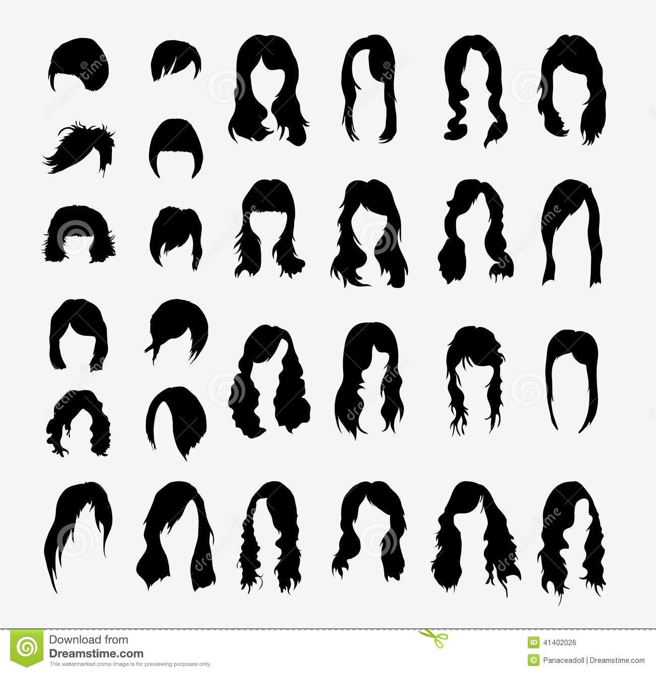 vector set of women's hairstyles stock vector - illustration of