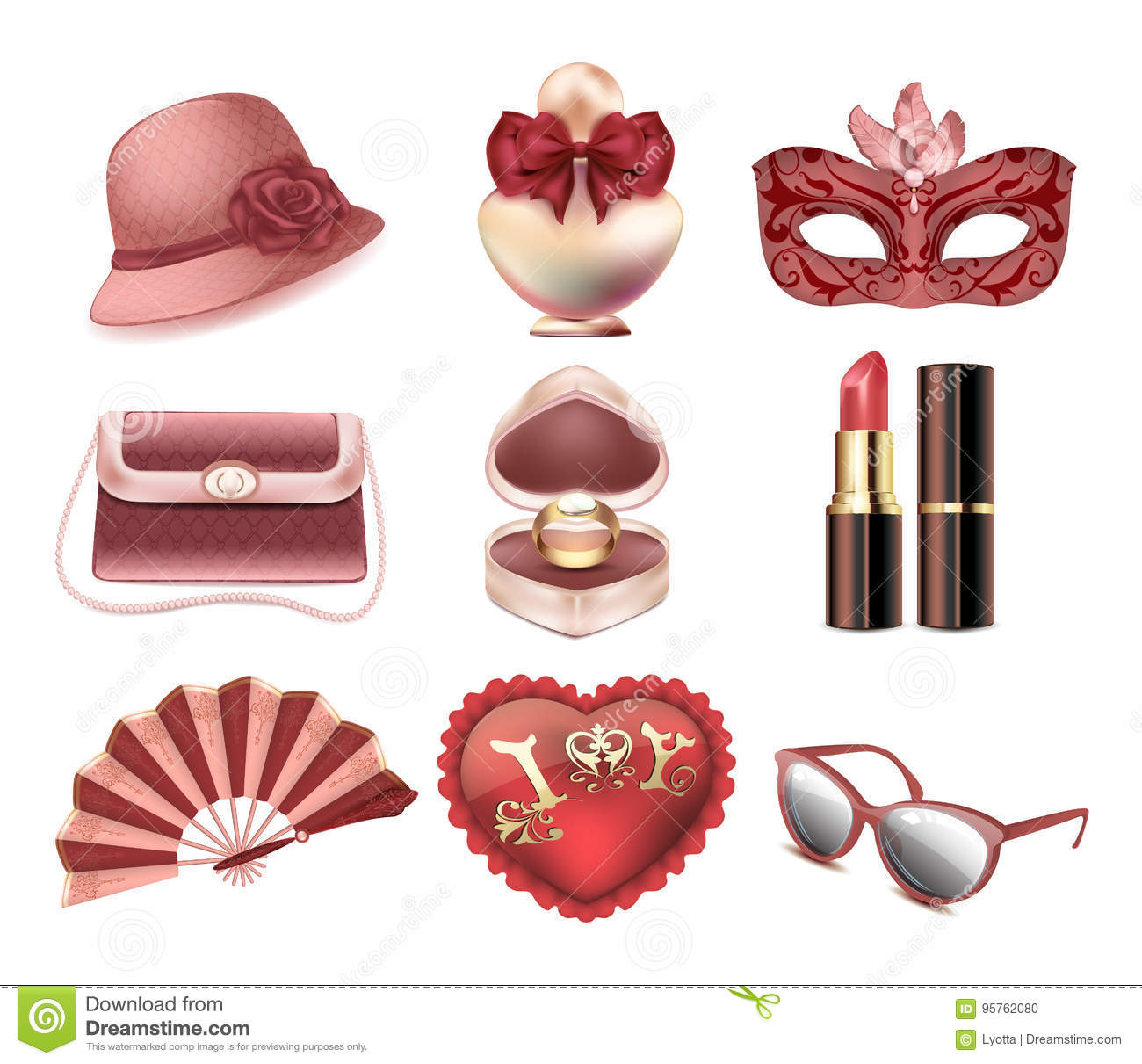 Vector set of womens fashion accessories. Hat, carnival mask, handbag, fan, heart pillow, perfume, lipstick, ring with a diamond