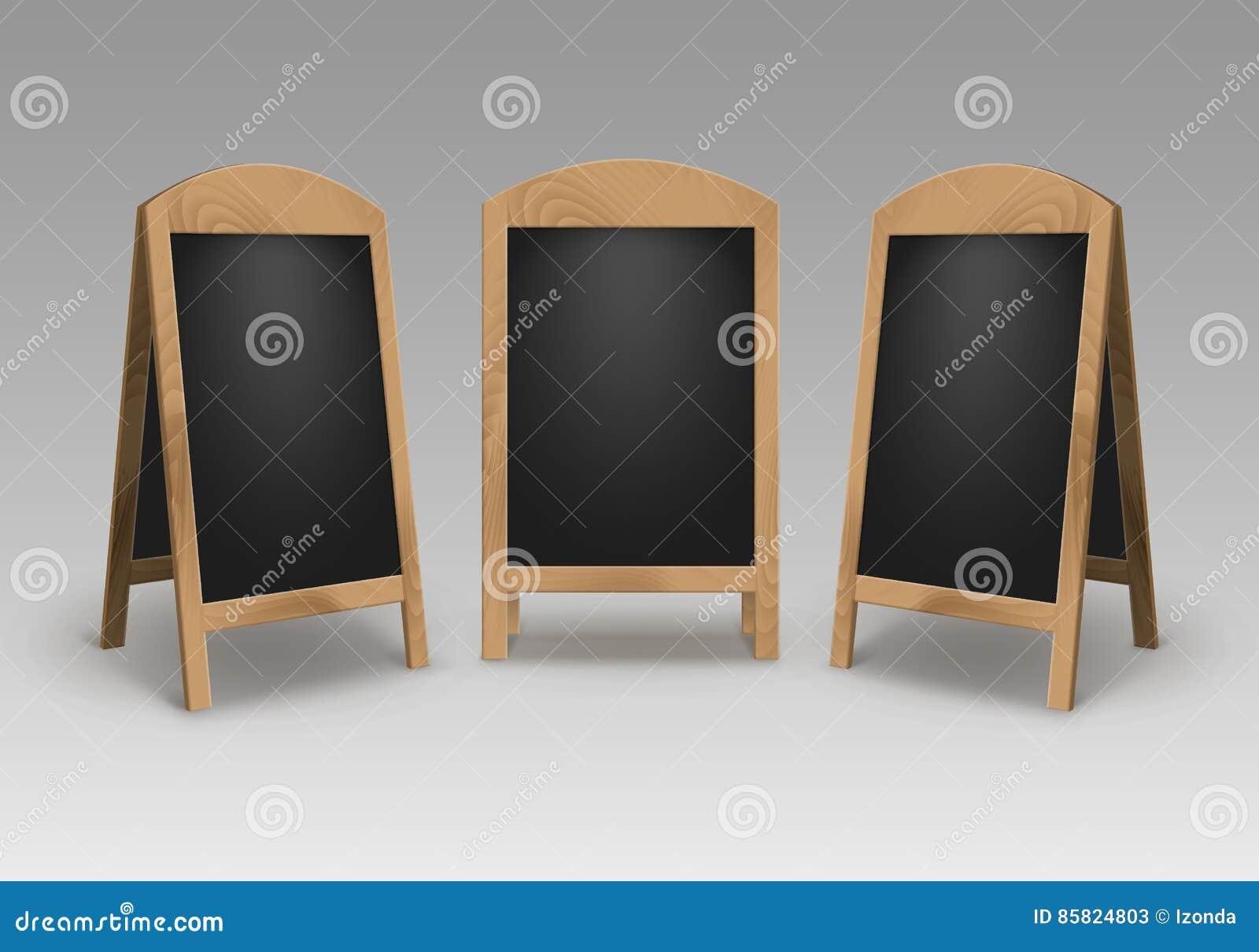 Vector Set Of Wooden Empty Blank Advertising Street Sandwich Stands