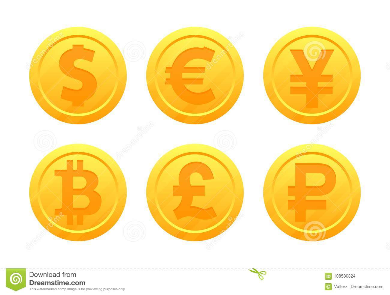 World Currency Symbols In The Form Of Gold Coins With Signs Dollar