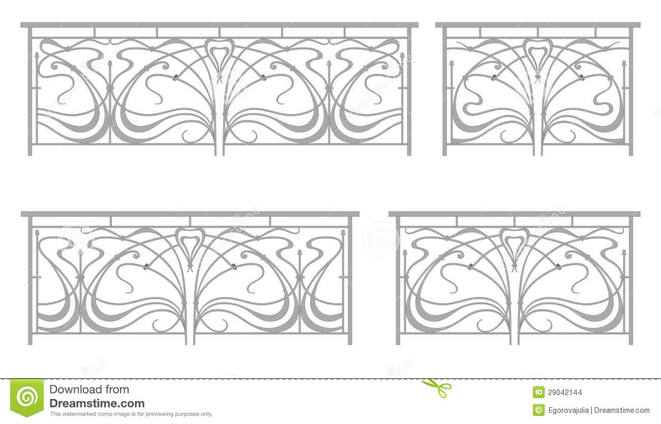 Vector set wrought iron fence and grilles stock vector for Cerco illustratore