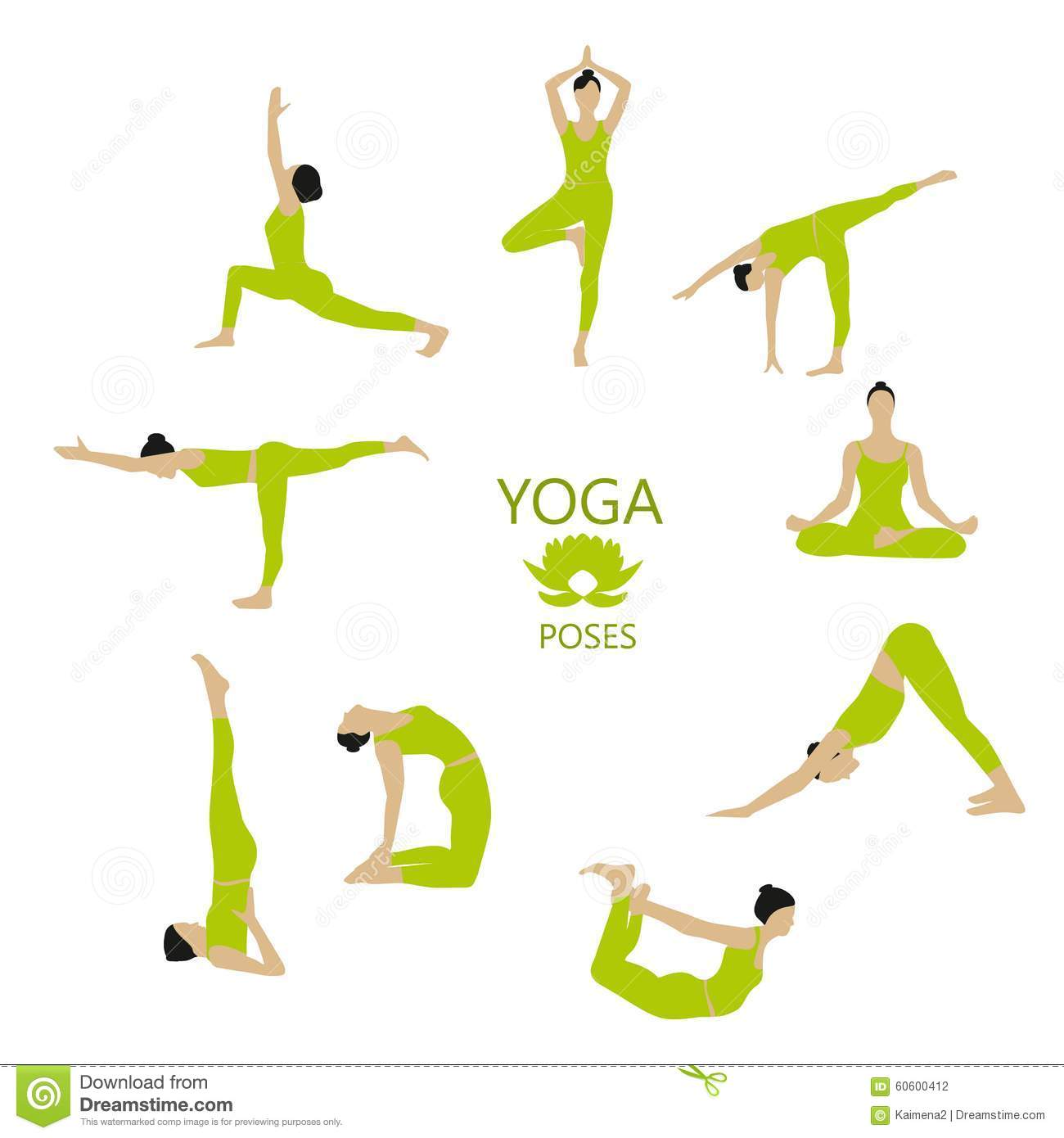 Vector Set Of Yoga Poses. Girl Does Yoga Exercises. Stock Vector ...
