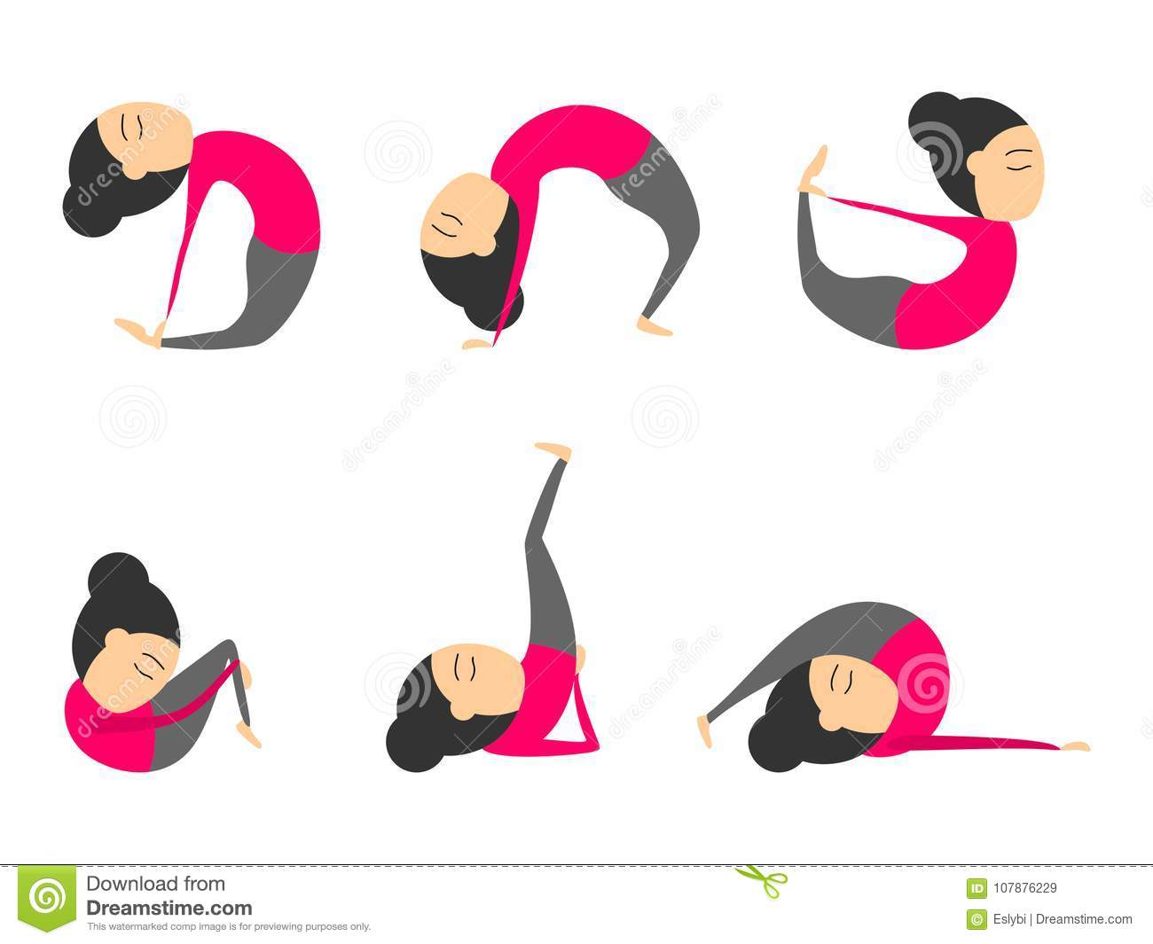 Download Vector Set Of Yoga Poses For Health And Flexibility Woman Exercises Class