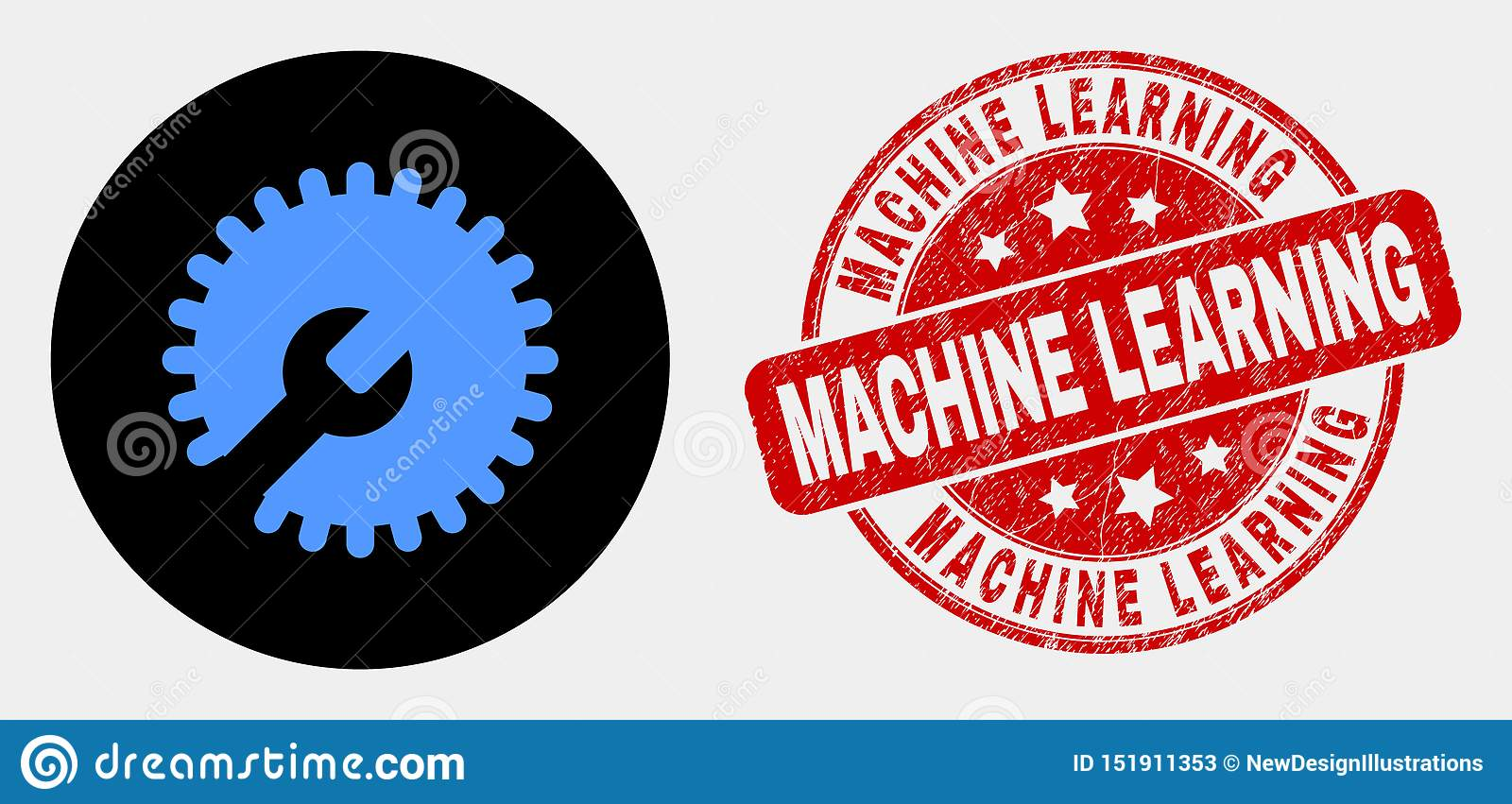 Vector Settings Gear Icon And Scratched Machine Learning Stamp Seal Stock Vector Illustration Of Application Rounded 151911353
