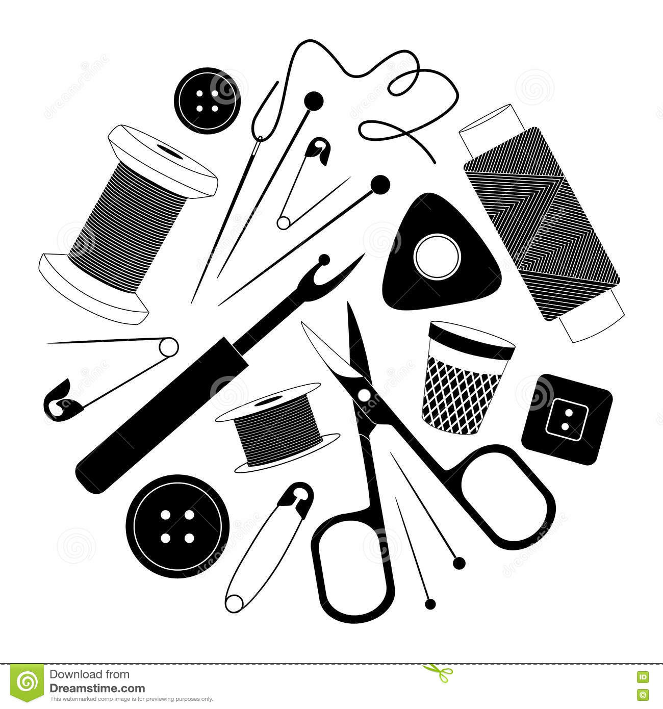 Vector Sewing Supplies Silhouette. Stock Vector - Image ...