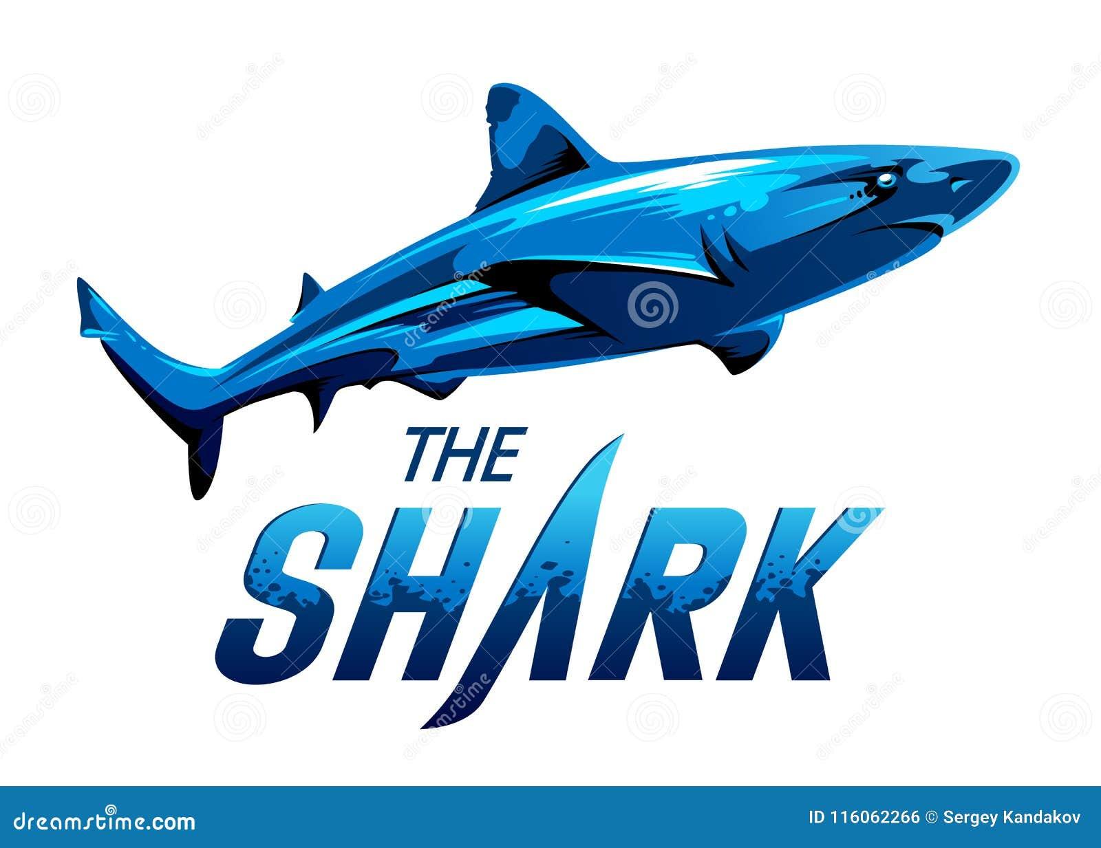 0e878ec1d2e05 Blue vivid color shark silhouette on white background. Shark blue vector  emblem. Vector illustration.