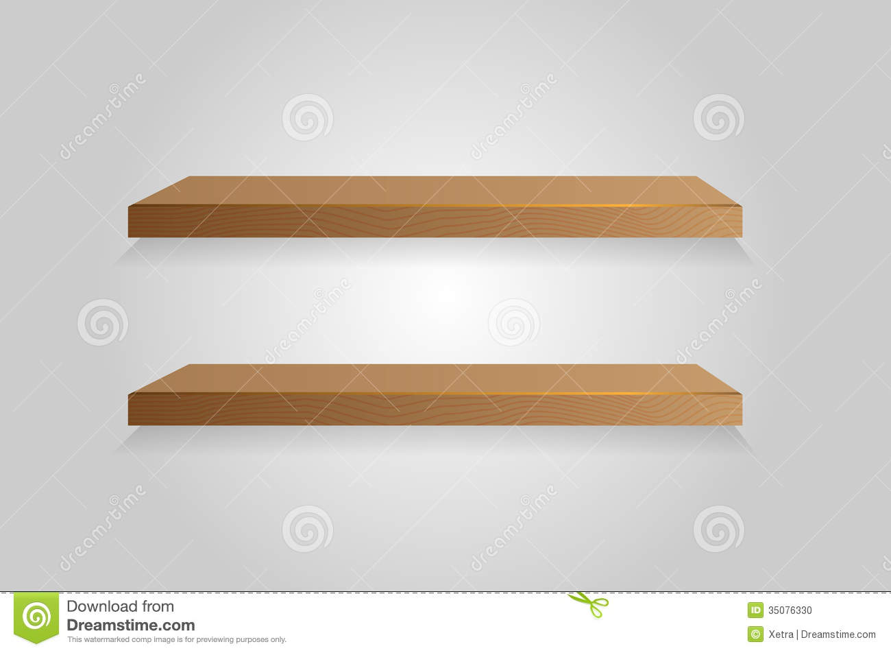 Empty white shelf hanging on a wall. Vector illustration. Background.