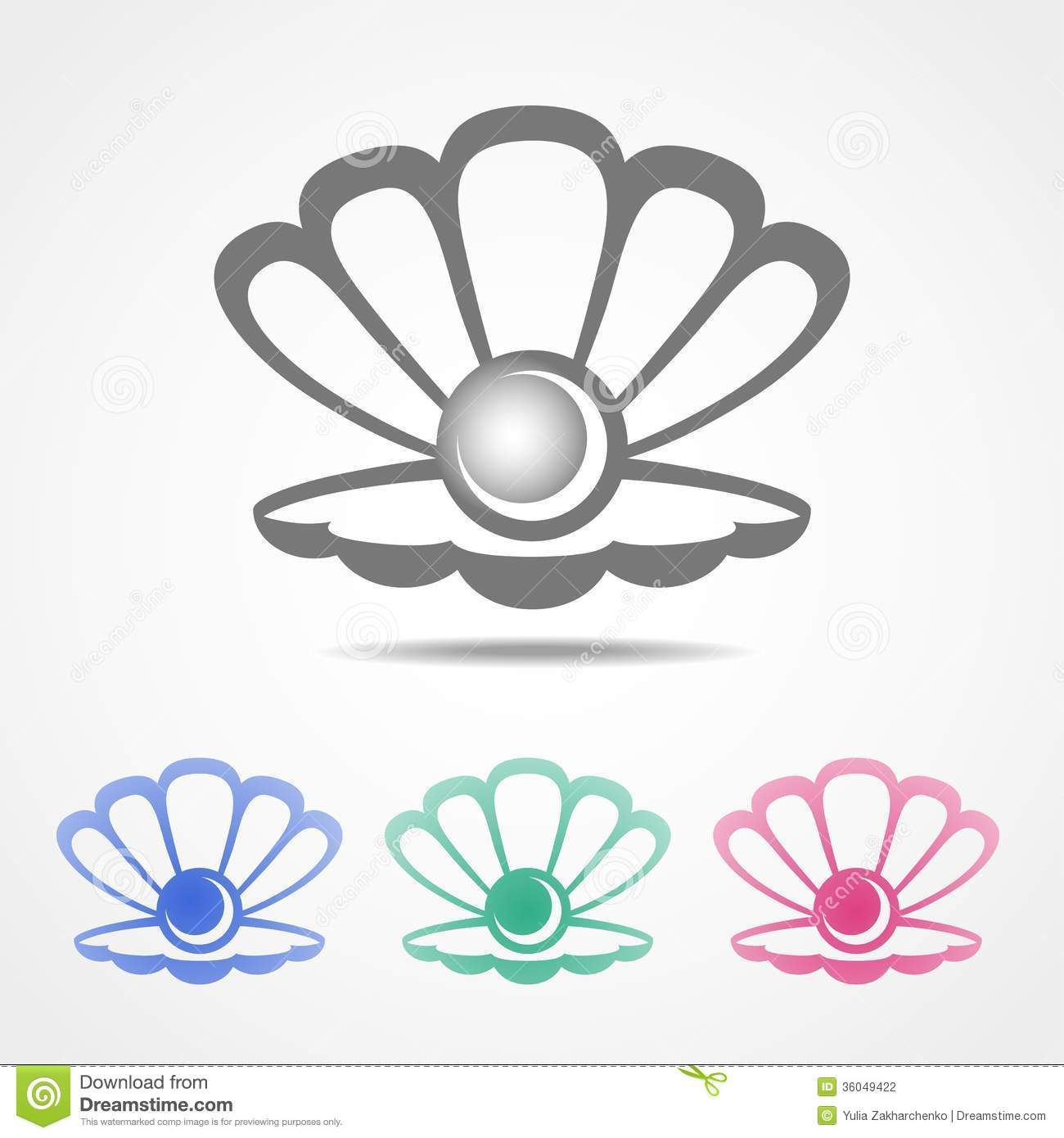 Vector Shell Icon With A Pearl In Different Colors Stock Photography ... Open Oyster Shell With Pearl