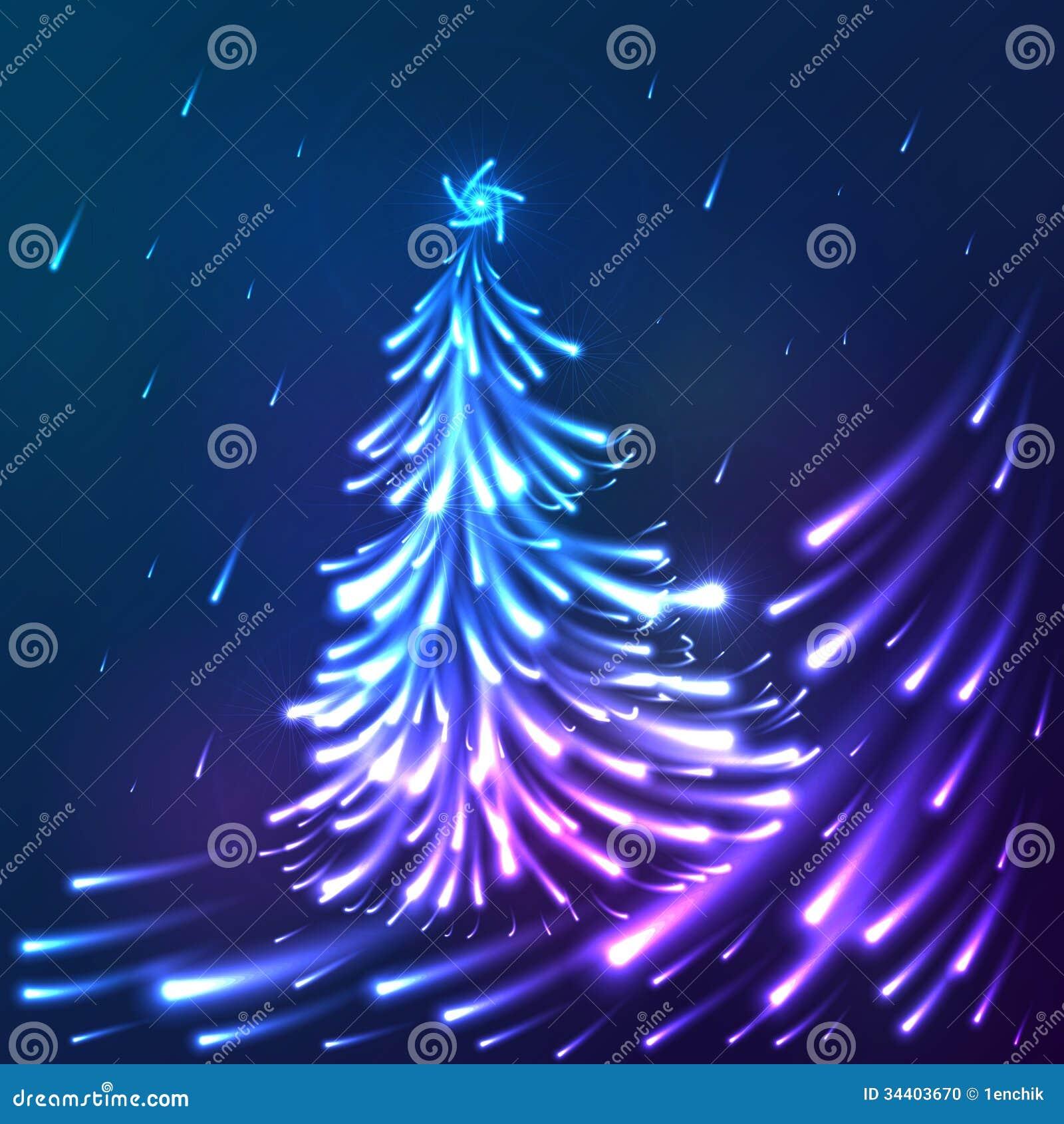 Vector Shining Lights Blue Neon Christmas Tree Stock Photo ...