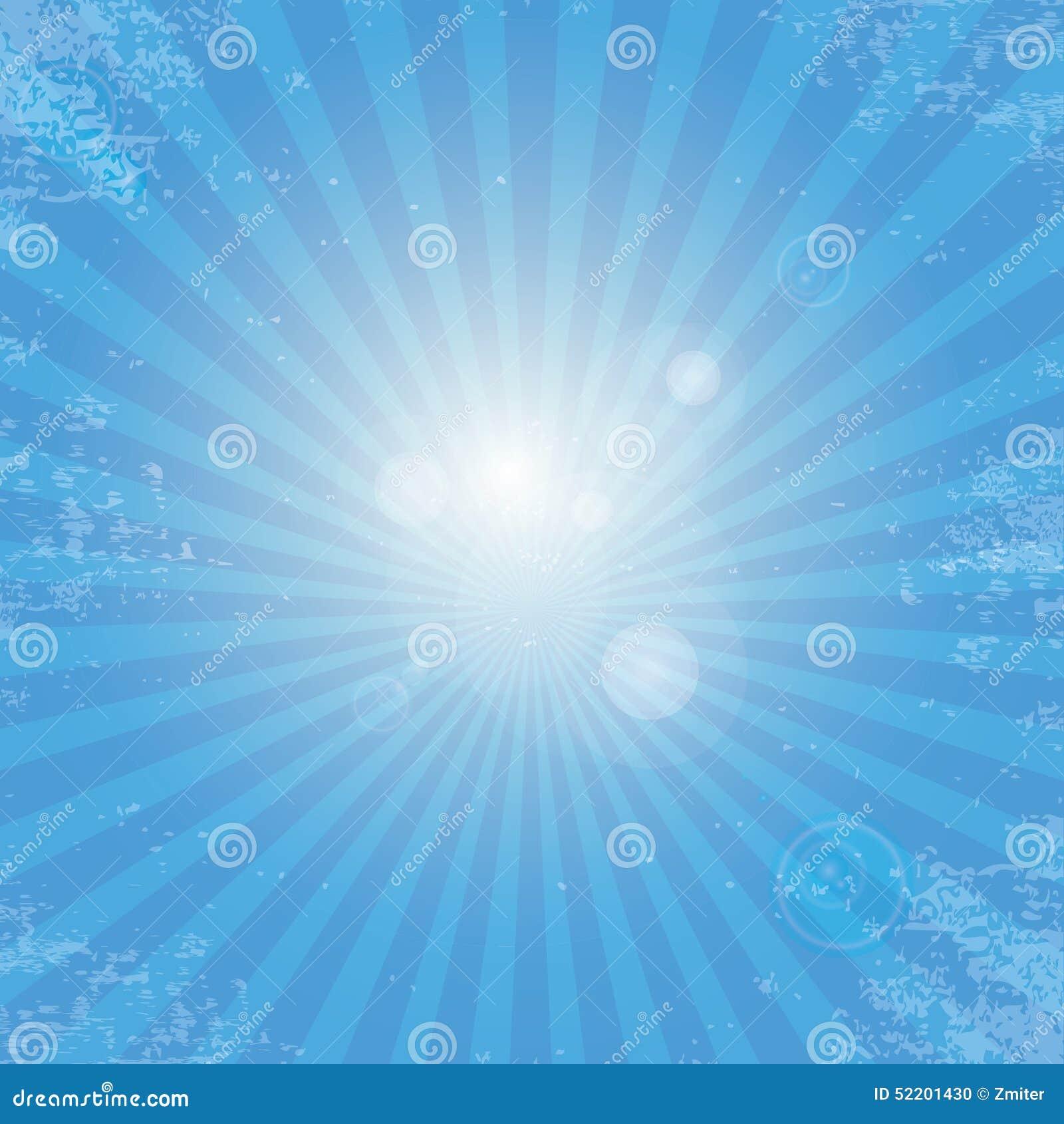 Vector Bright Sun Burst On Clear Blue Sky Background ...