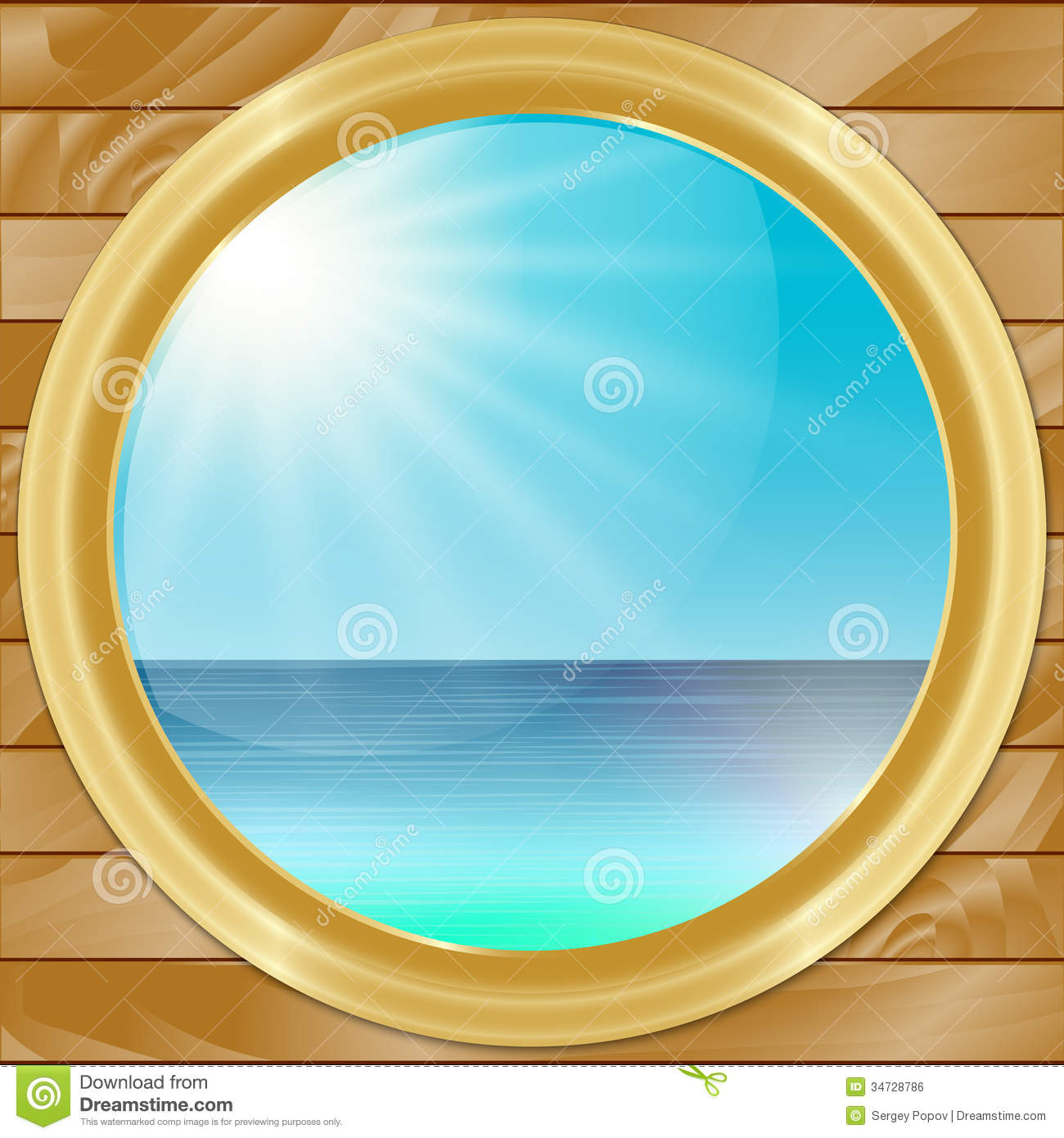 Vector Ship Porthole With SeaScape View Stock Vector - Image: 34728786