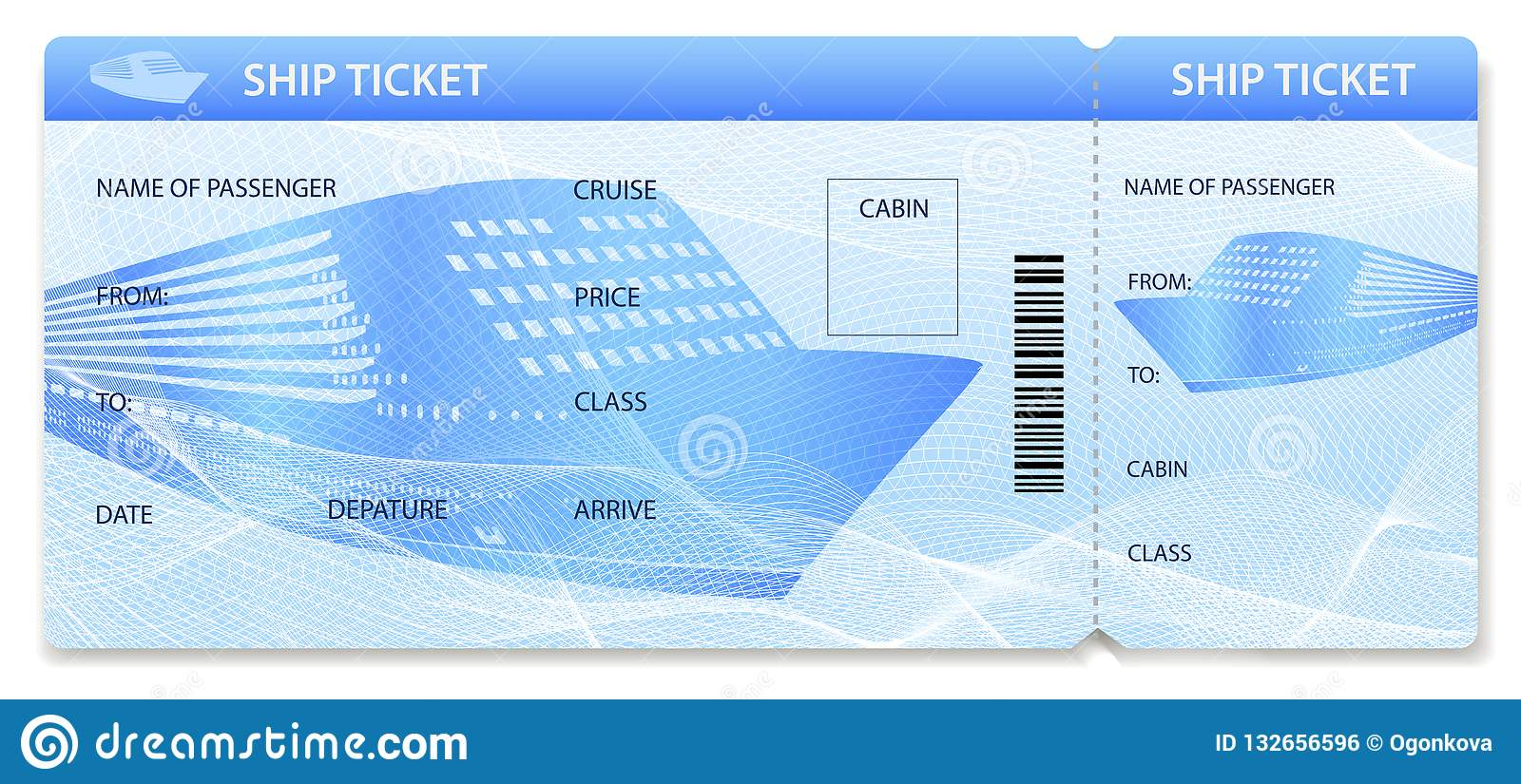 vector ship ticket template    layout  travel by cruise