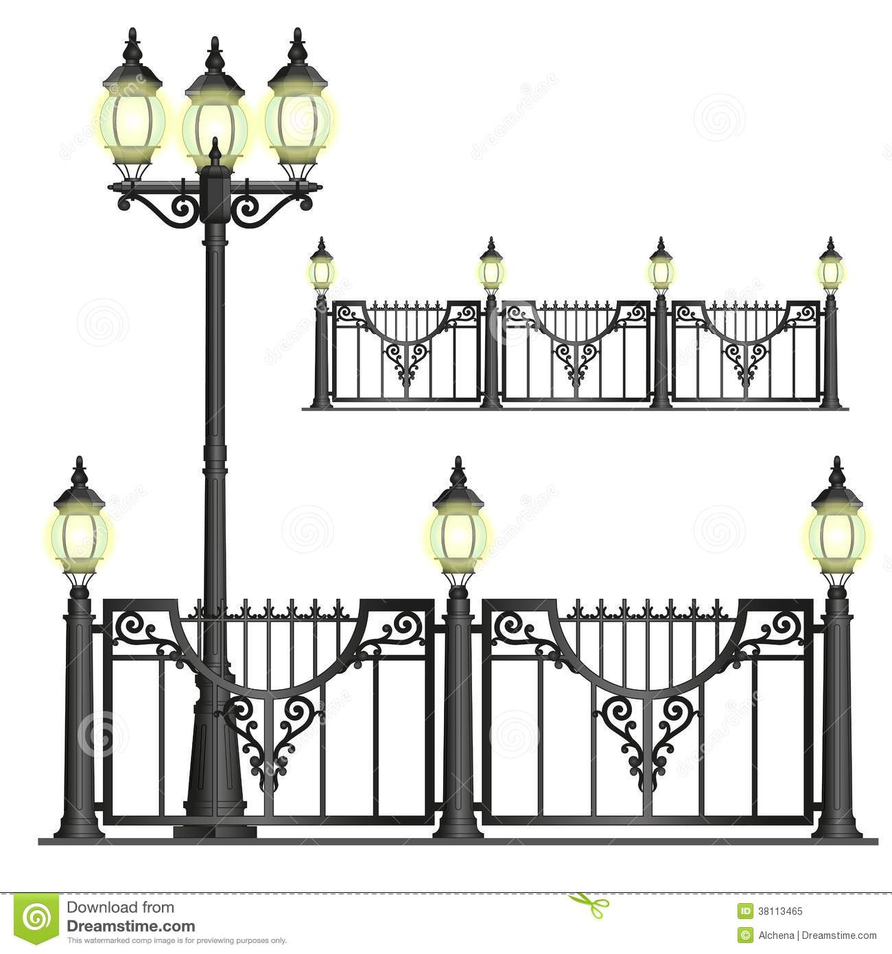 Vector black shod street fence with lanterns with openwork convoluted ...