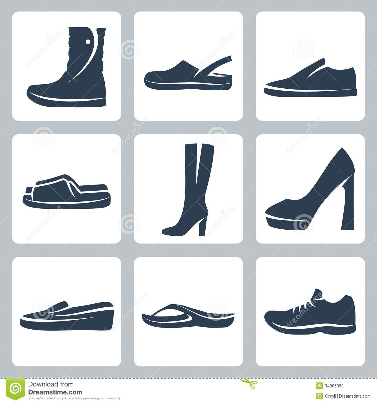 Vector Shoes Icons Set Stock Vector Illustration Of Foot