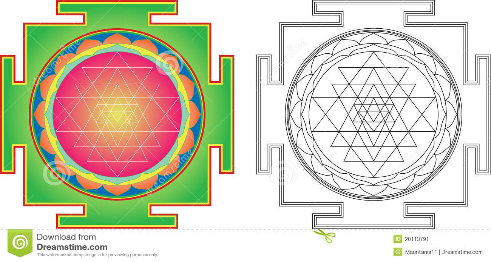 Vector Shri Yantra stock vector  Illustration of medicine