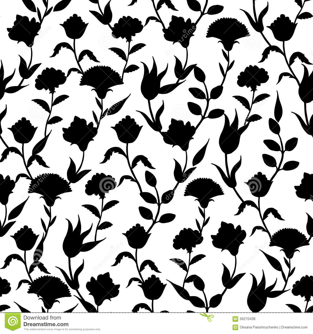 Black Flower Silhouette Pattern Royalty Free Stock Images: Vector Silhouette Black White Turkish Flowers Stock Vector