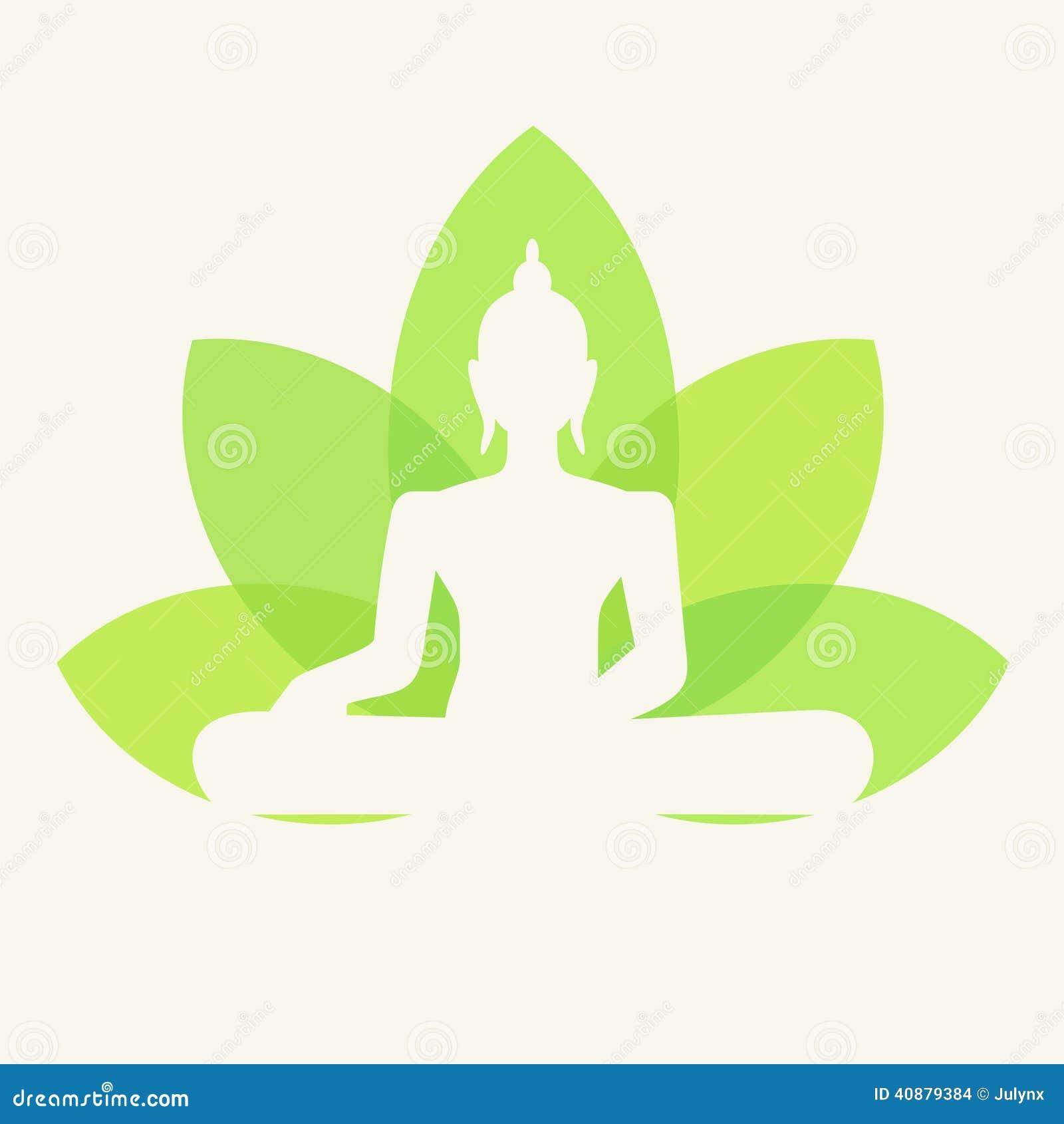 Vector Silhouette of Buddha sitting