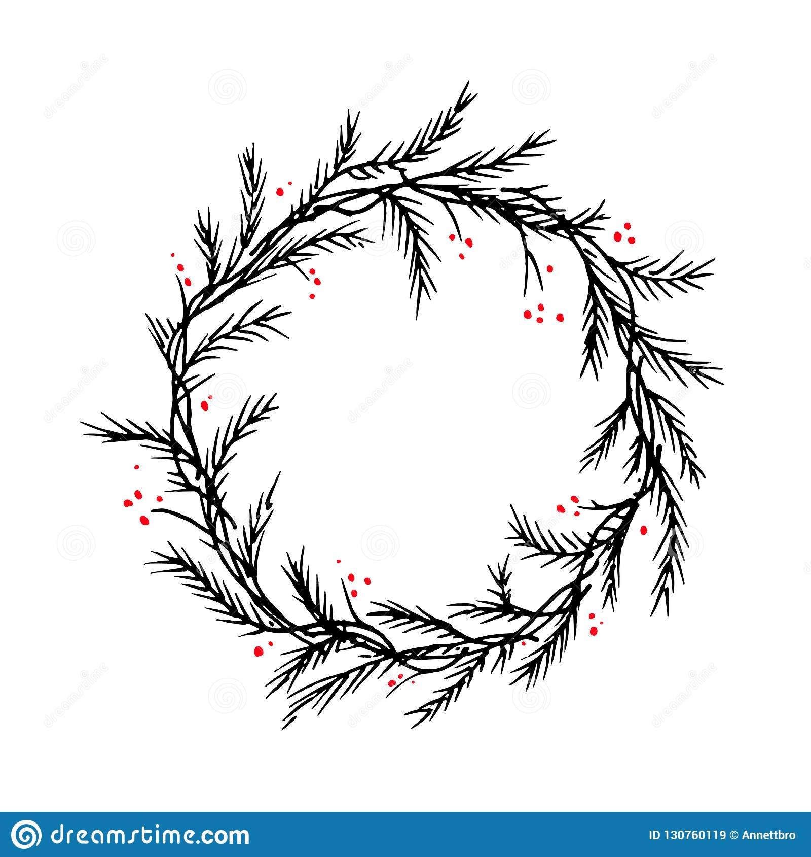Christmas Wreath Silhouette.Vector Silhouette Christmas Wreath Frame Or Border Stock