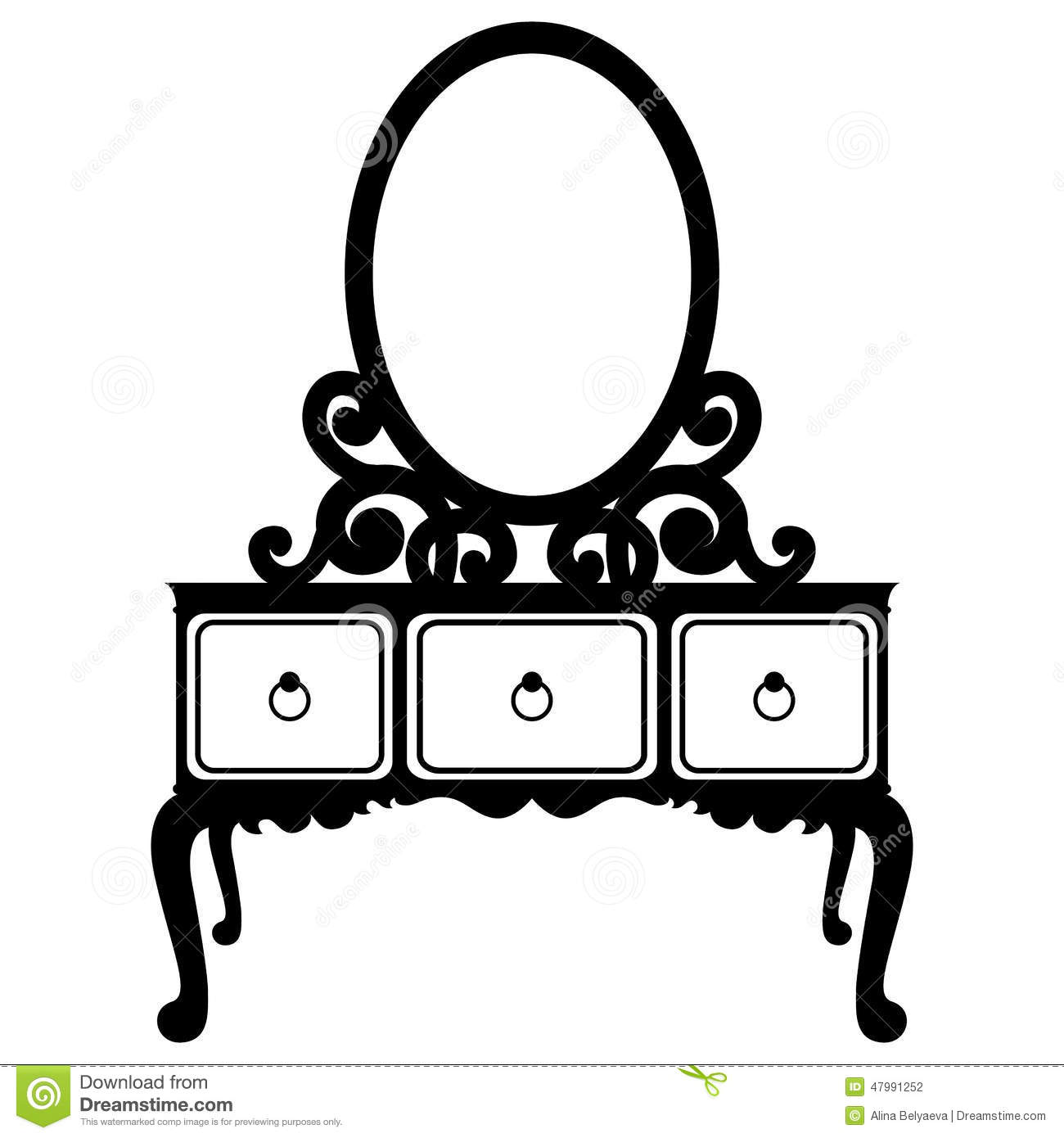 Vector Silhouette Of Console Mirror Stock Vector