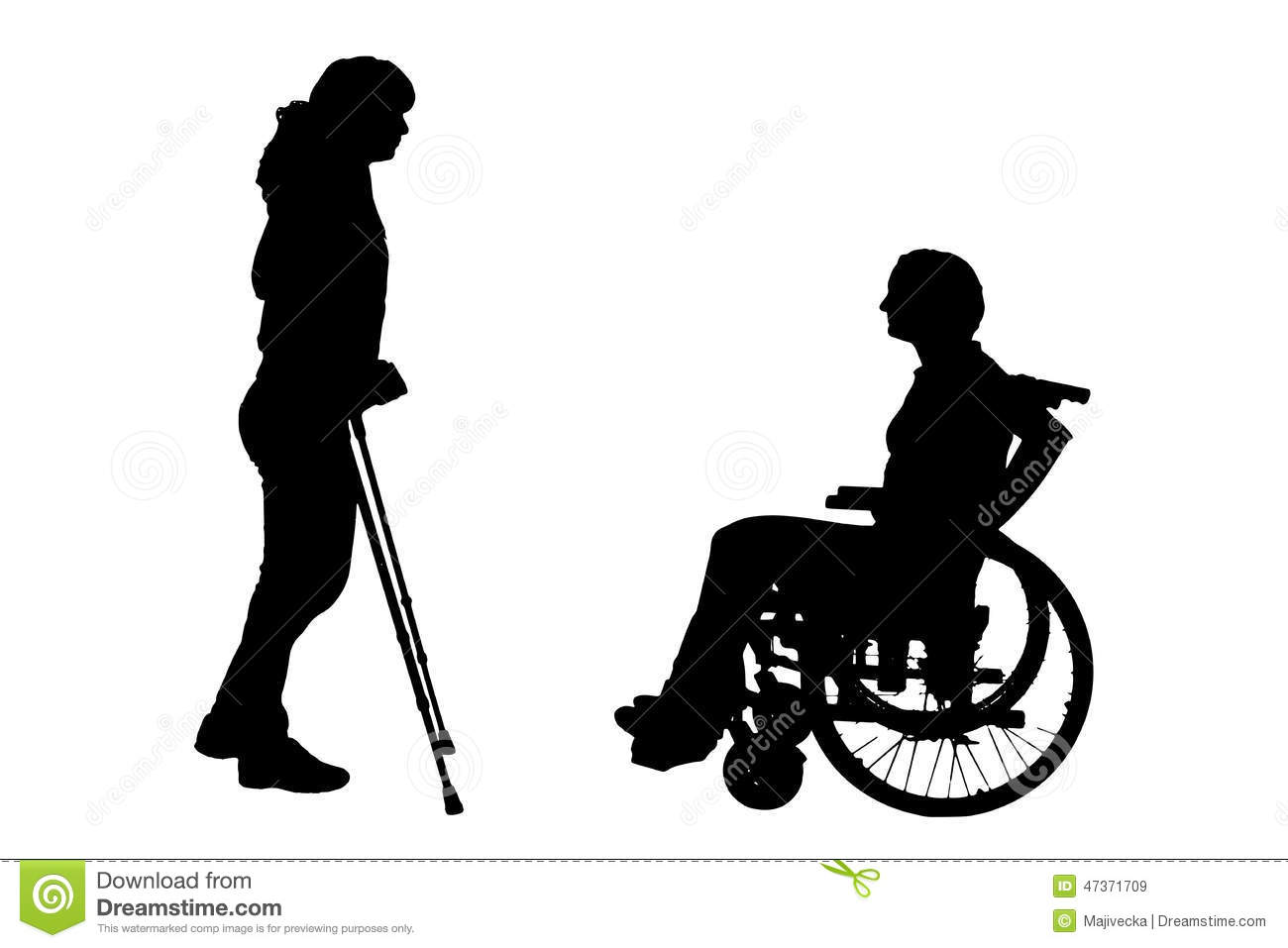 Vector Silhouette Of Disabled People. Stock Vector ...