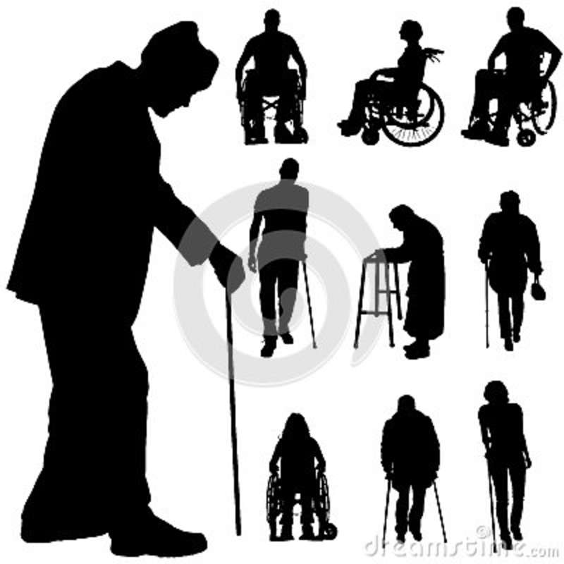 Vector Silhouette Of Disabled People. Stock Illustration ...