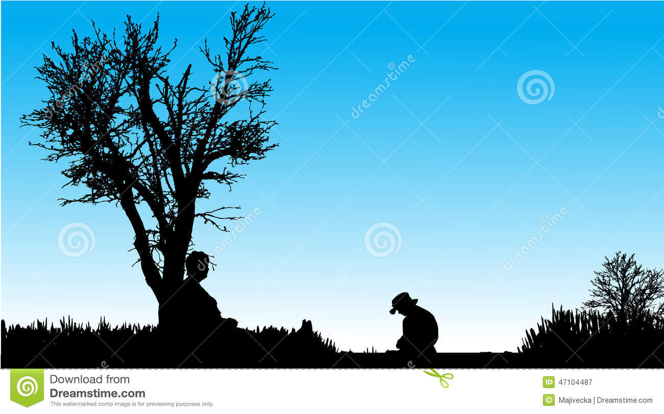 Children With Grandfather Silhouette Illustration In