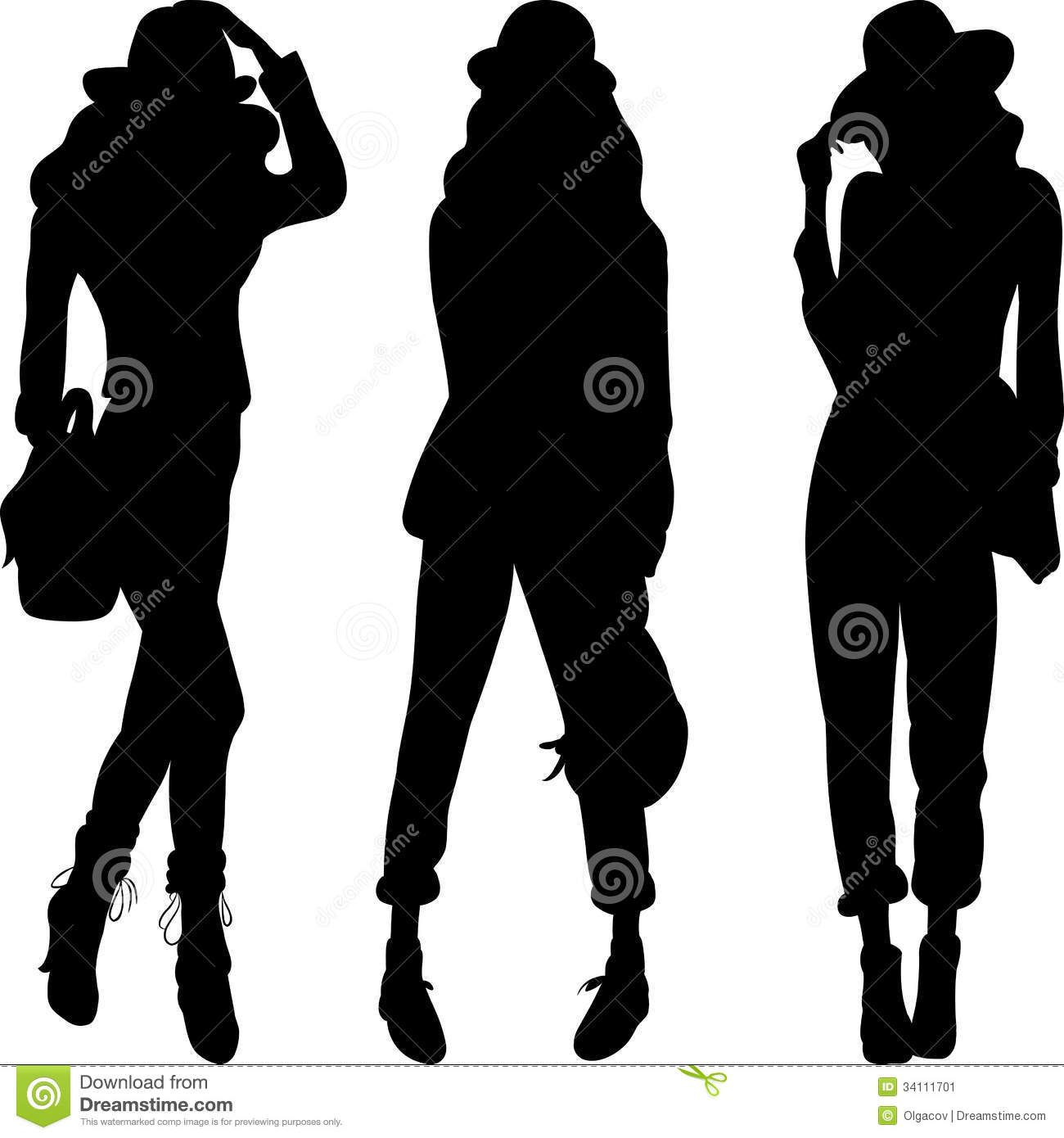 Vector Silhouette Of Fashion Girls Top Models Stock Vector