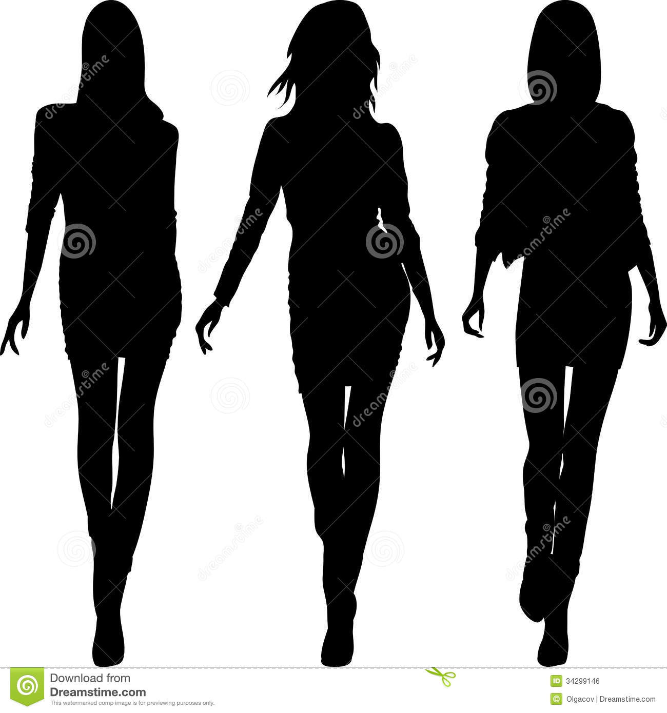 Vector Silhouette Of Fashion Girls Top Models Royalty Free