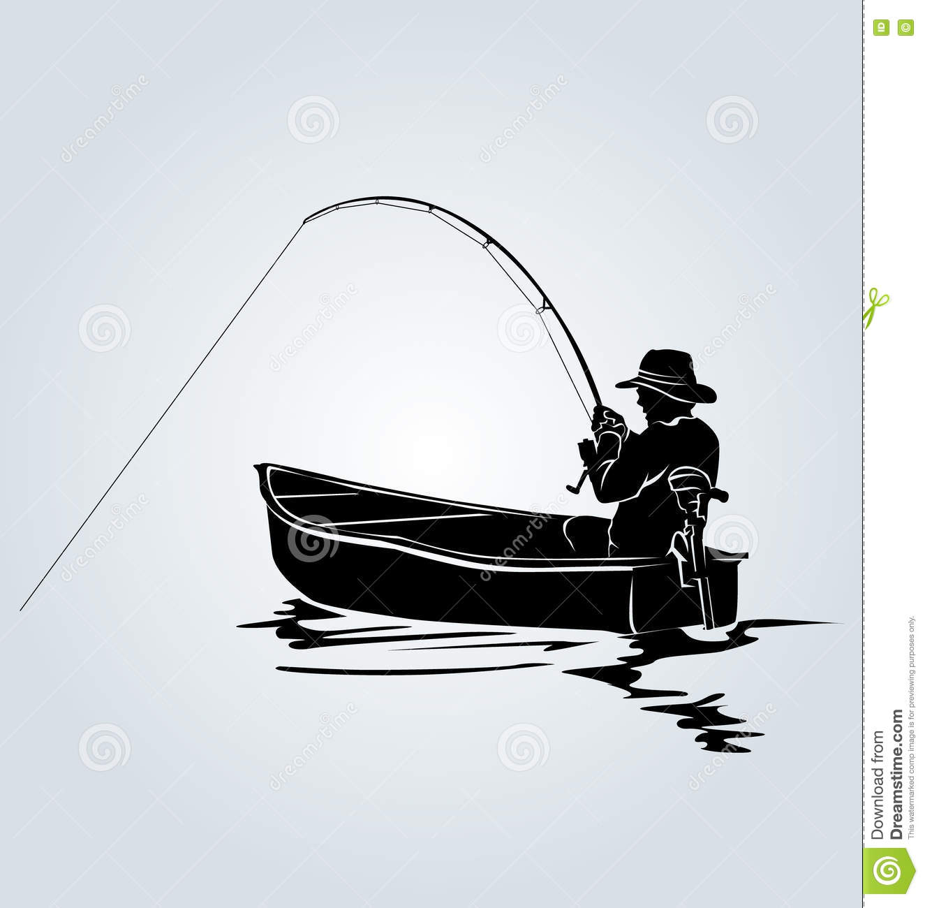 Download Vector Silhouette Of A Fisherman In A Boat Stock Vector Illustration Of Cast Beach 73729271